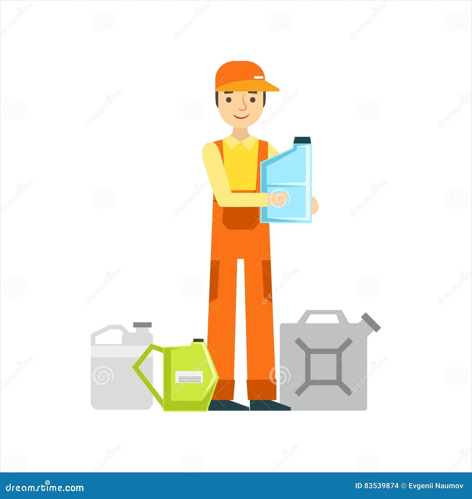 Lächelnder Mechaniker With Oils Assortment in der Garage, Auto-Reparatur-Werkstatt-Service-Illustration