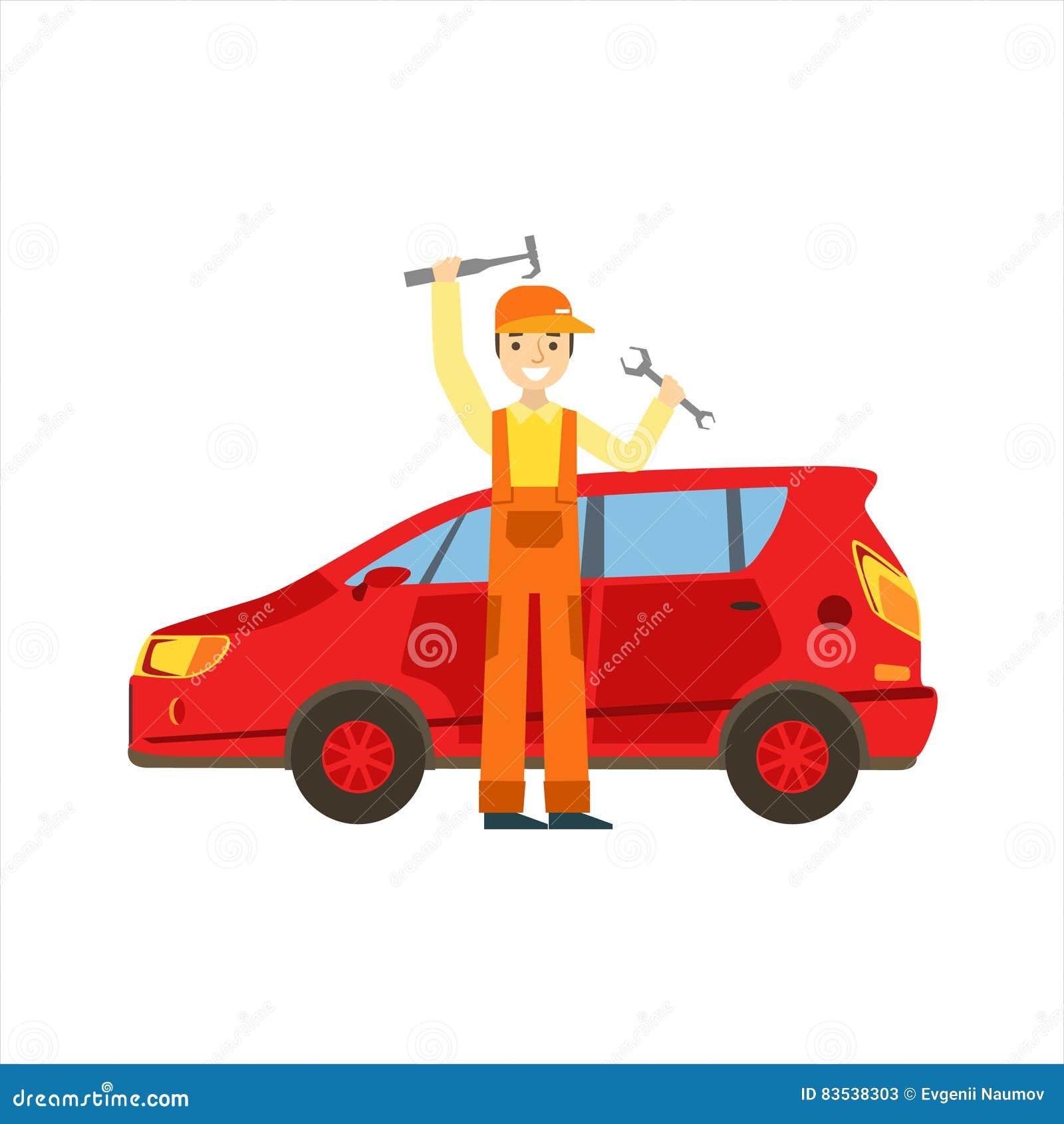 Lächelnder Mechaniker-With Wrench And-Hammer in der Garage, Auto-Reparatur-Werkstatt-Service-Illustration
