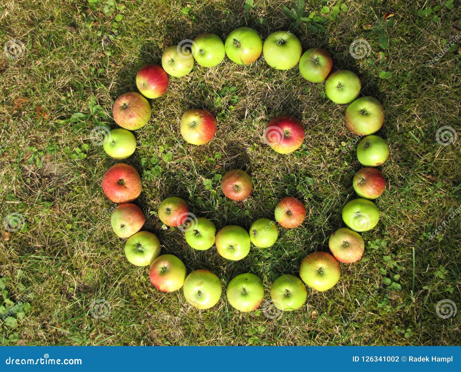 Lächelngesicht gemacht mit grünen roten Äpfeln im Herbst