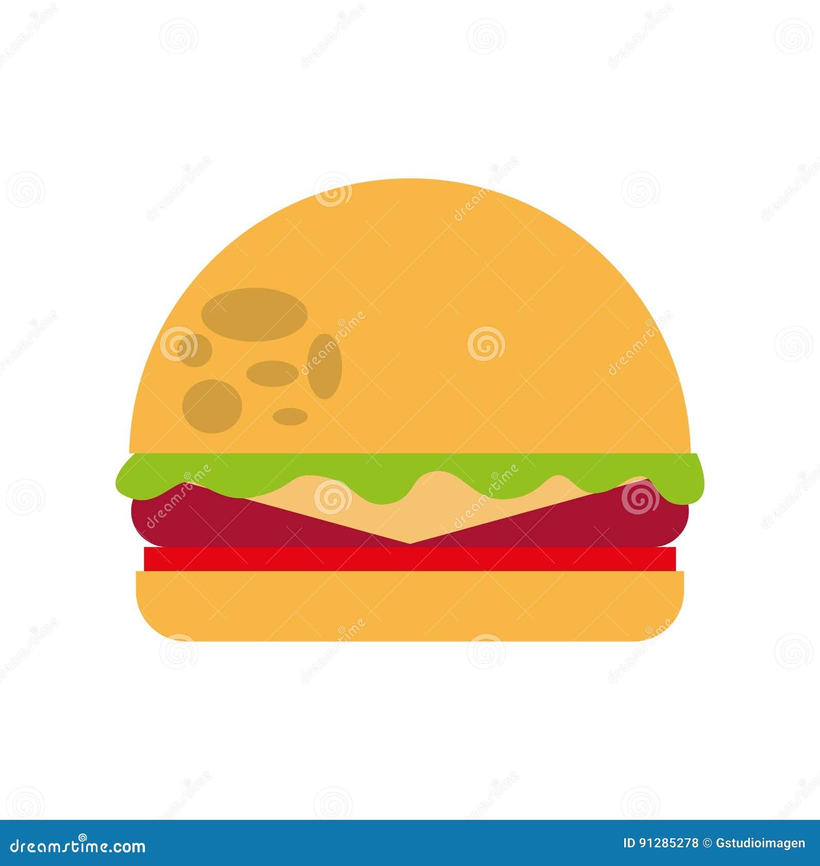 Läcker hamburgare isolerad symbol