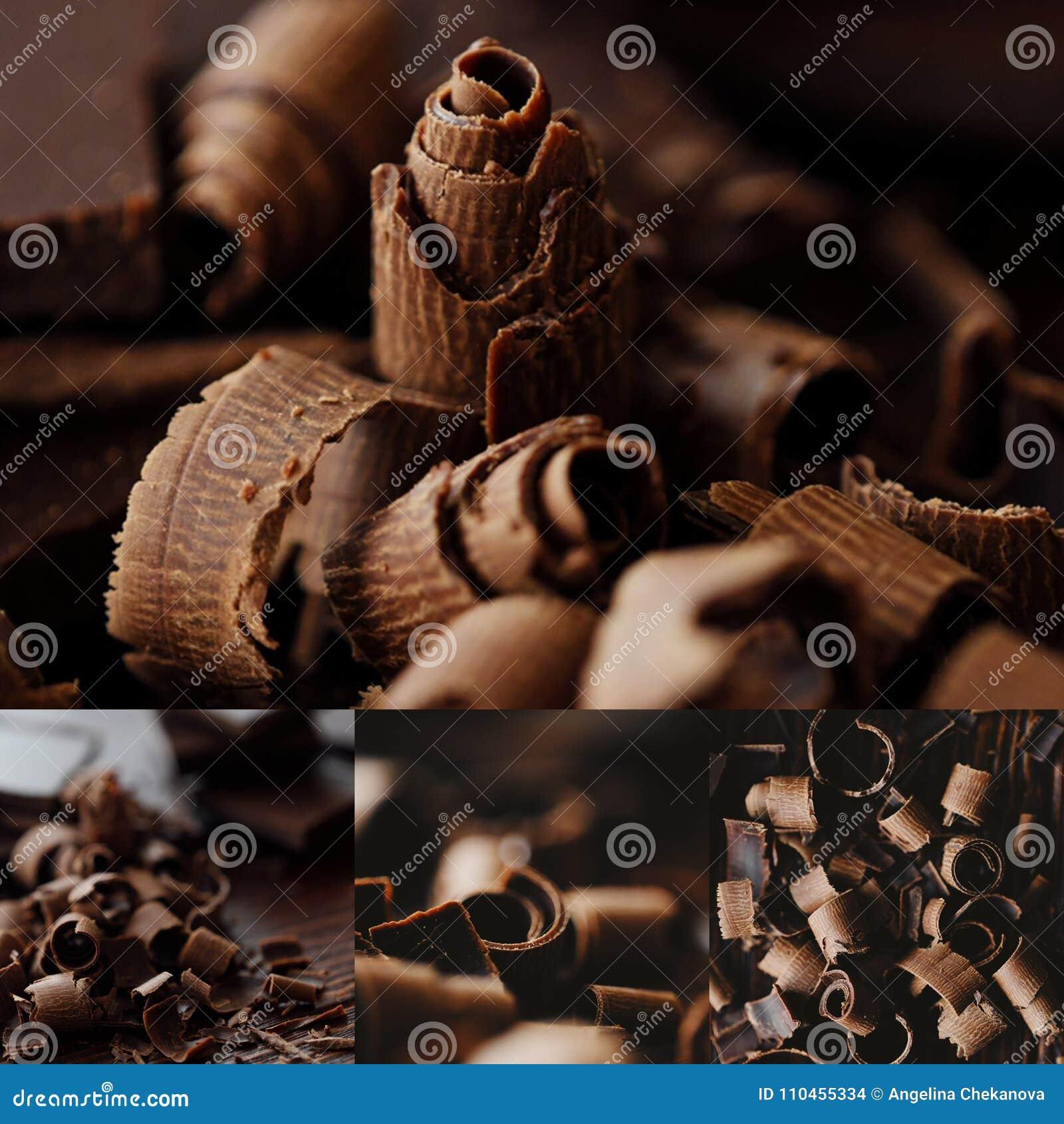 Läcker mörk choklad på en brun bakgrund