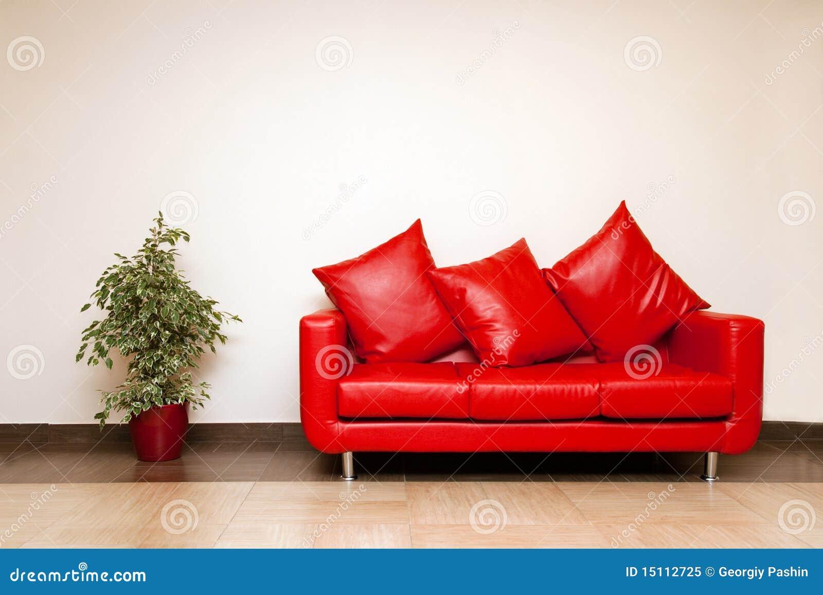 Läder nära sofaen för kuddeväxtred