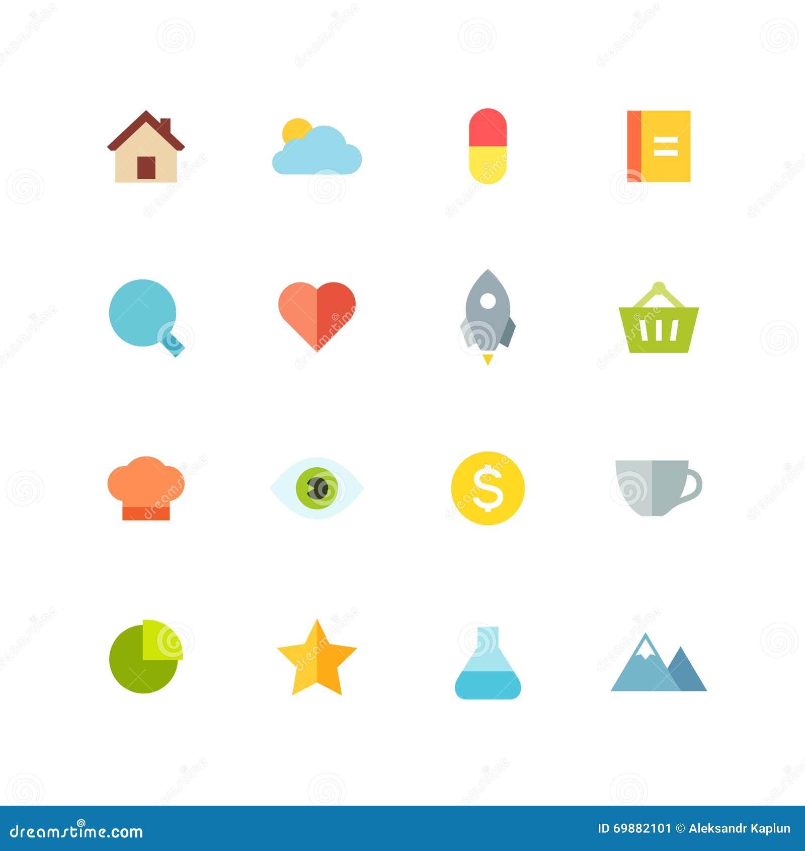 Lägenhet färgad symbolsuppsättning