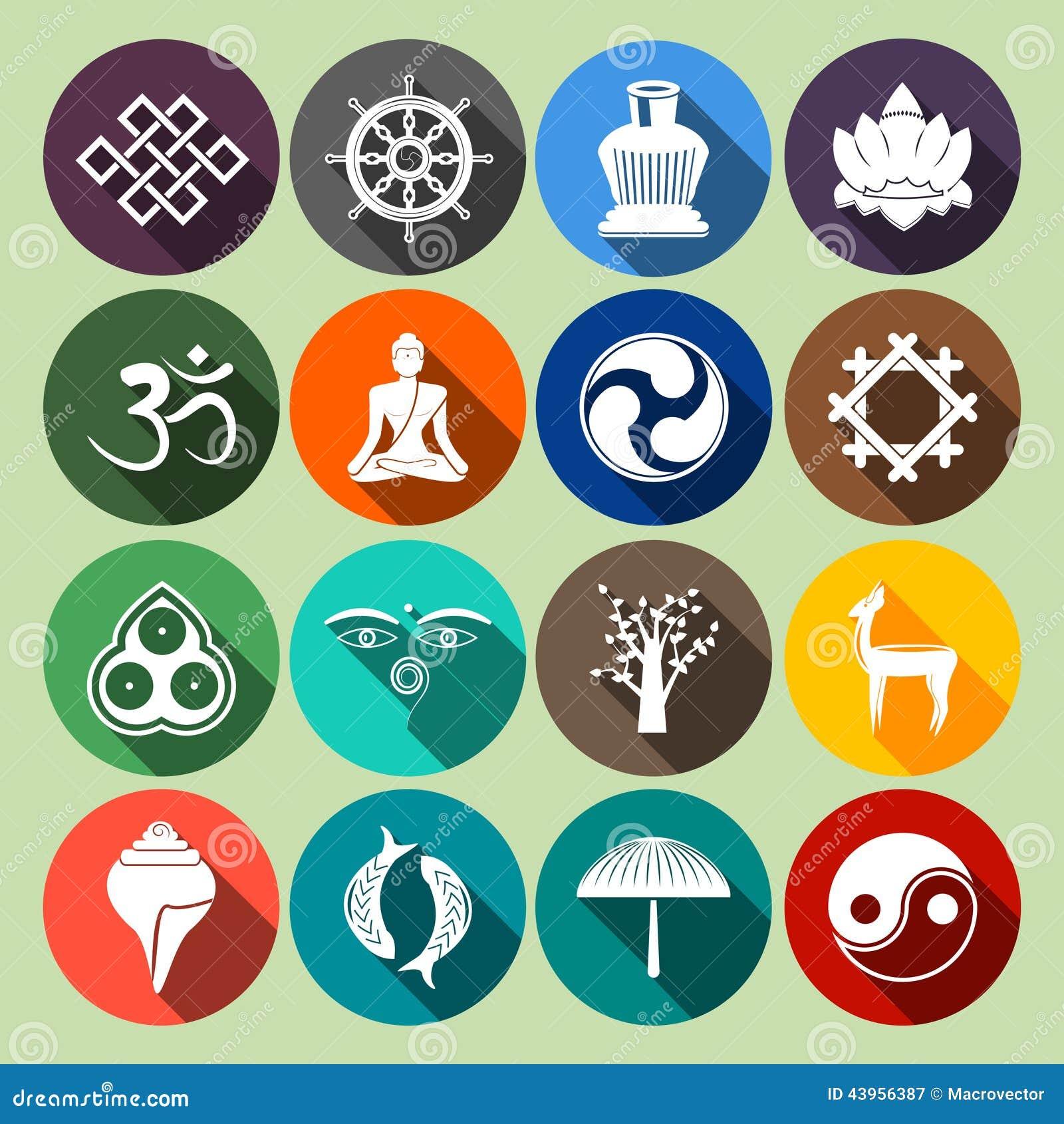 Lägenhet för buddismsymbolsuppsättning