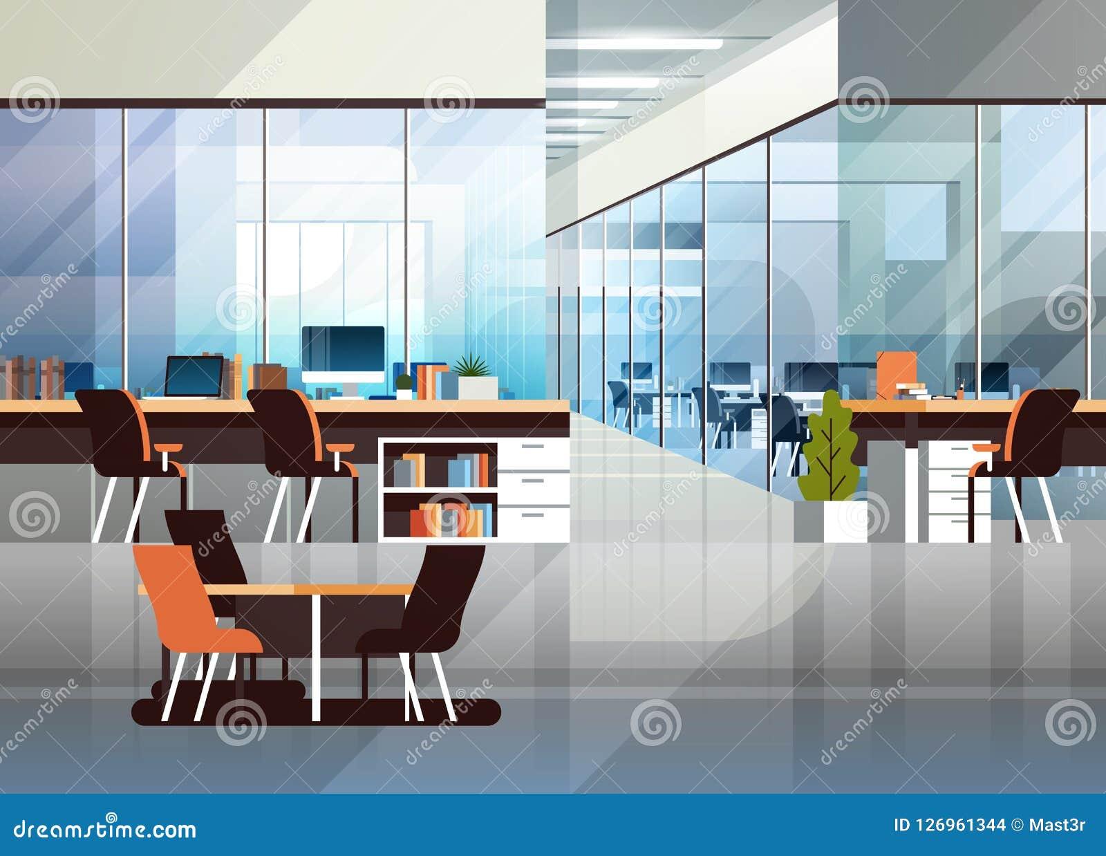 Lägenhet för workspace för inre modern för mitt för Coworking kontor idérik miljö för arbetsplats horisontaltom