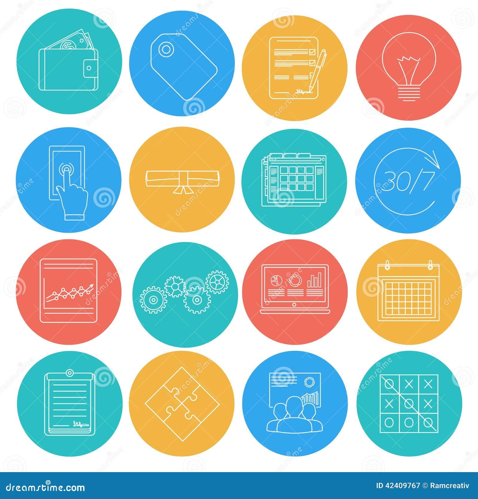 Lägenheten fodrar symboler av affären och finans Elektronisk kommers, SEO, marknadsföring, kontor