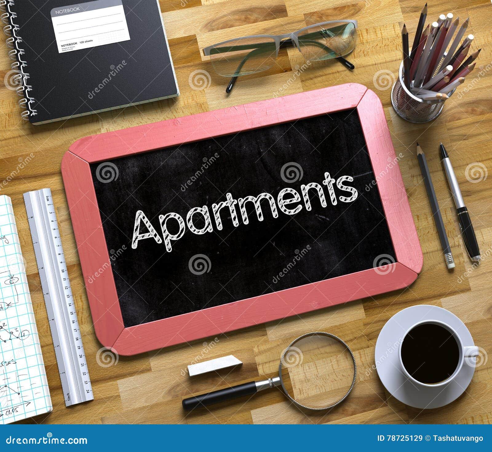Lägenheter - text på den lilla svart tavlan 3d