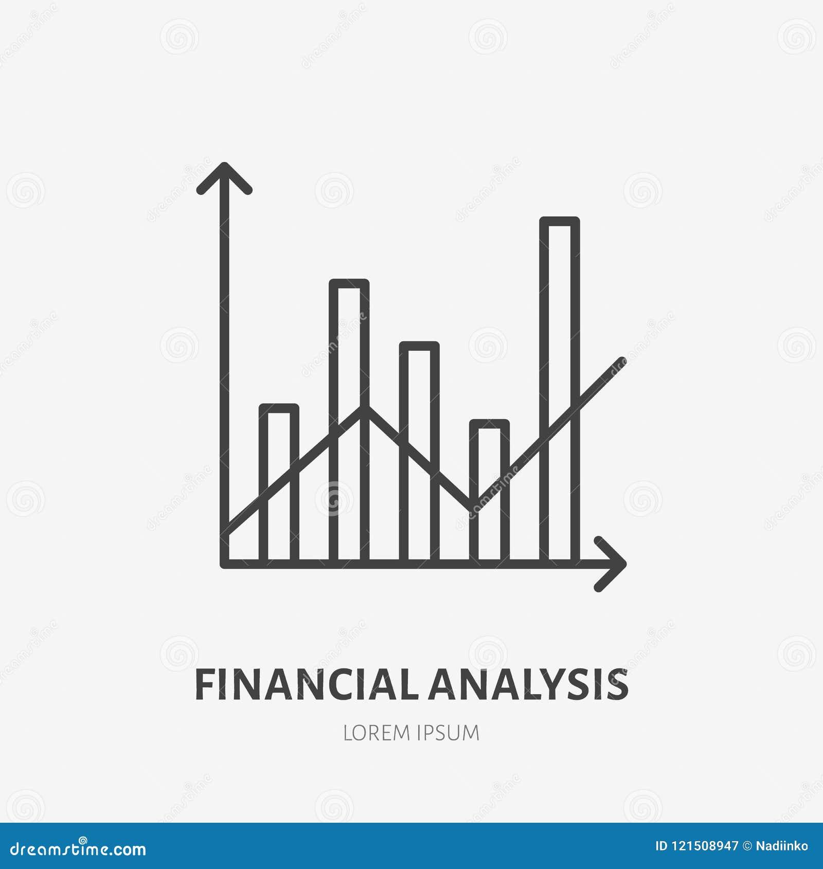Lägenhetlogo för finansiell analys, kolonndiagram och linje grafsymbol Illustration för datavisualizationvektor Tecken för