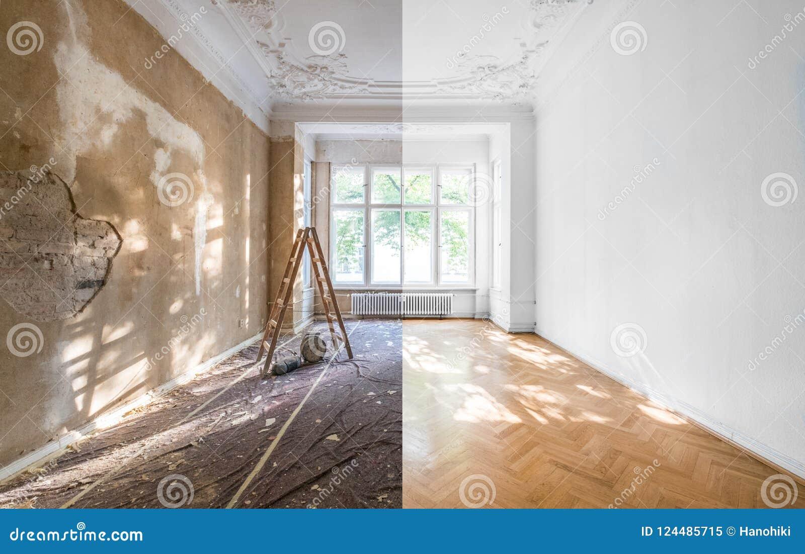Lägenhetrenovering - töm refurbishmen för rum före och efter