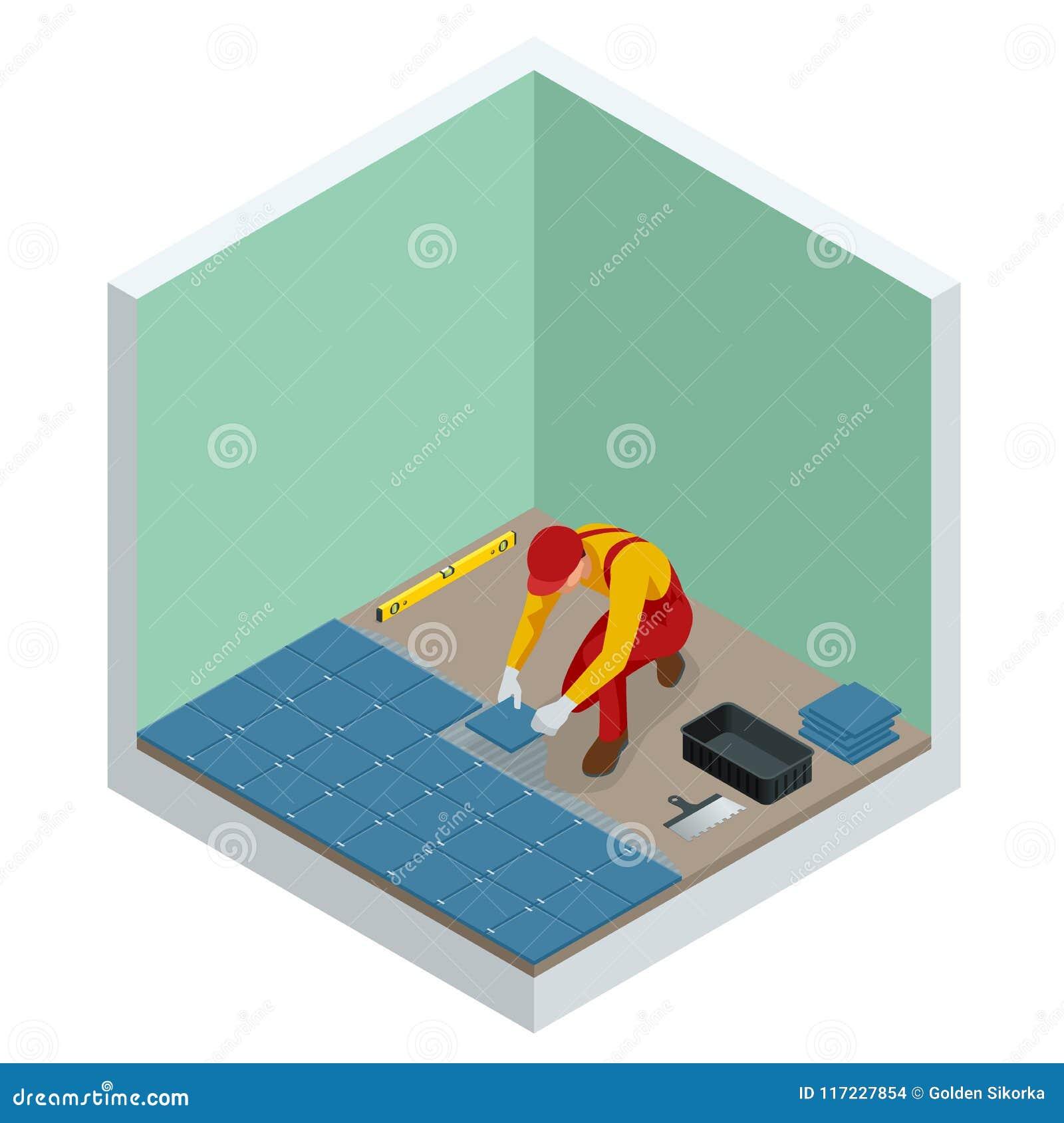 Lägga hemmastadda tegelplattor Arbetare som installerar små keramiska tegelplattor på badrumgolv och applicerar mortel med mursle