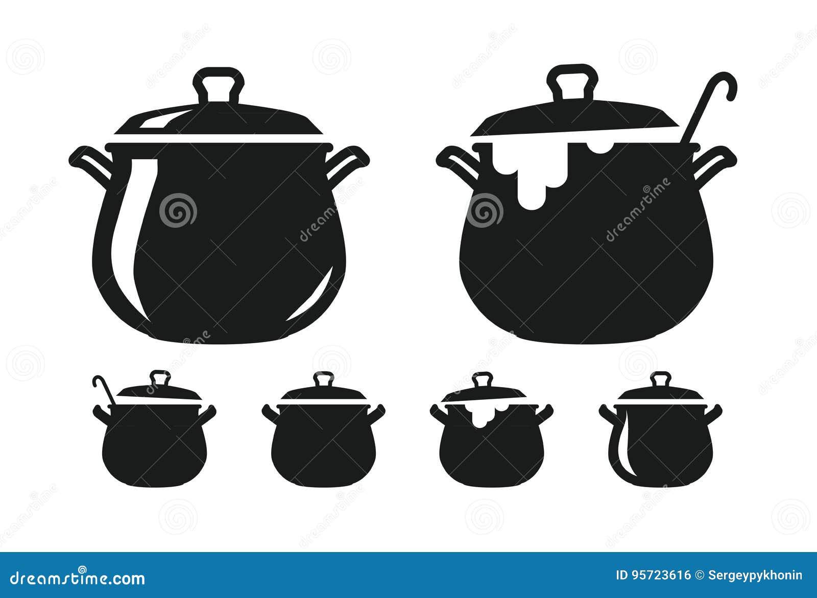 Lägga in med locket, panna av soppakonturn Matlagning, kokkonst, matlagning, kulinarisk konst, köksymbol eller logo också vektor