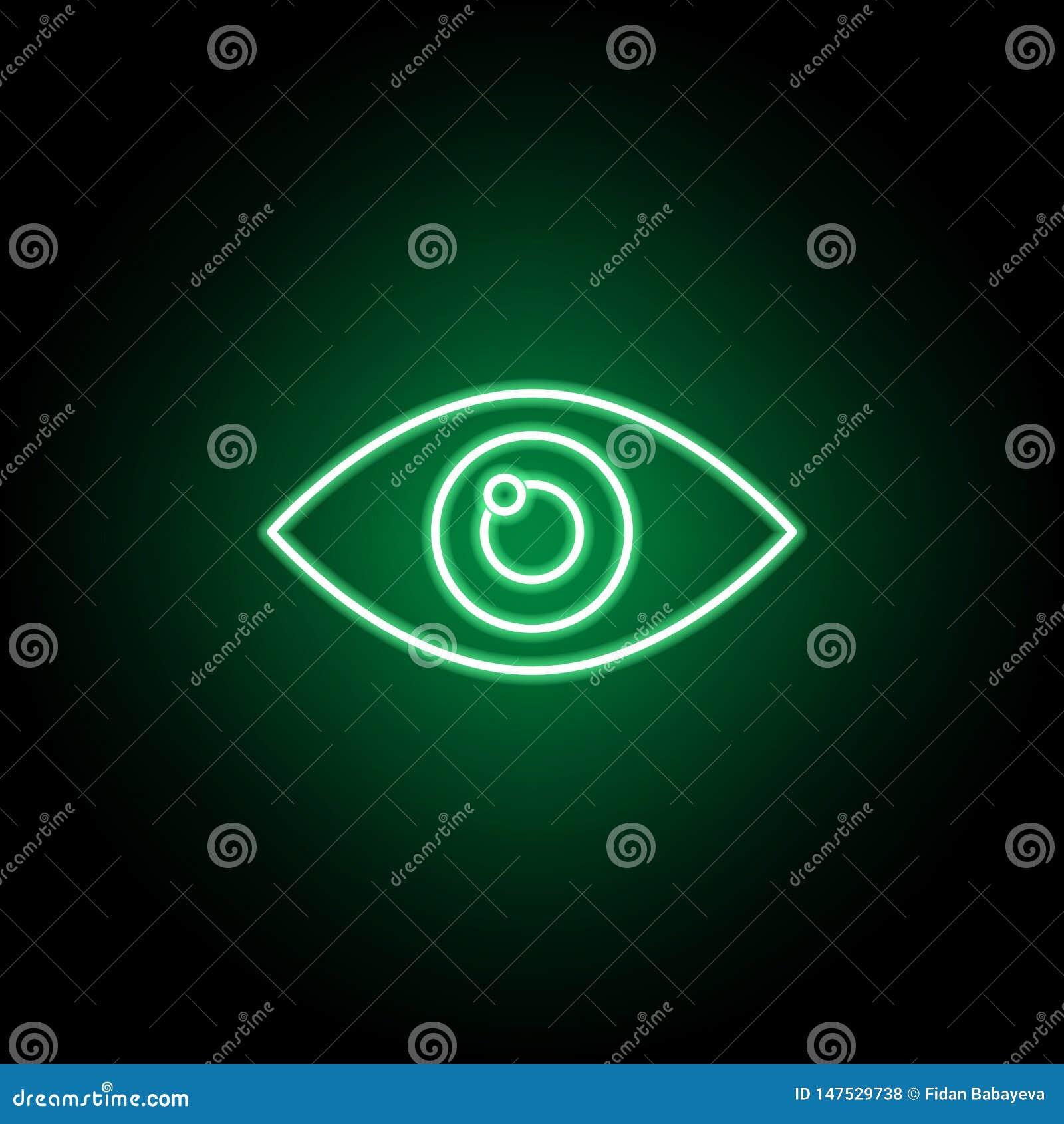 Läkarundersökning ögonsymbol i neonstil Best?ndsdel av medicinillustrationen Tecknet och symbolsymbolen kan anv?ndas f?r reng?rin