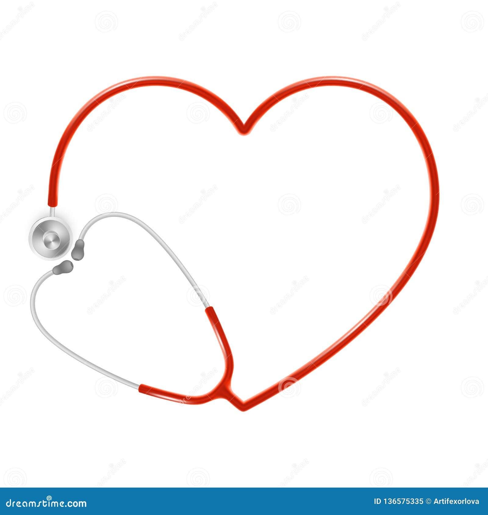 Läkarundersökning- och hälsovårdbegrepp, doktors stetoskop som isoleras på vit bakgrund 10 eps