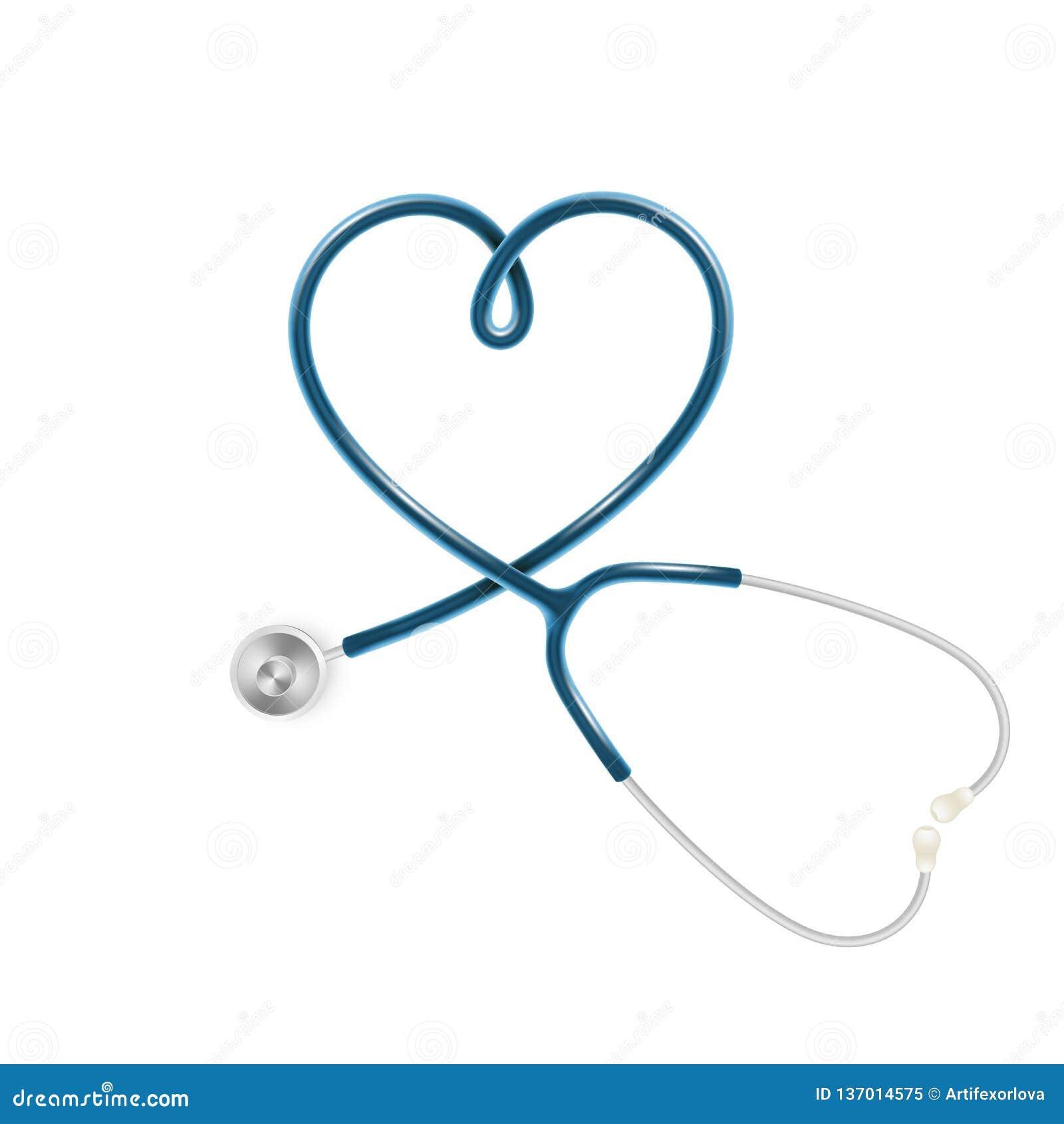 Läkarundersökning- och hälsovårdbegrepp, stetoskop för doktor som s isoleras på vit bakgrund 10 eps
