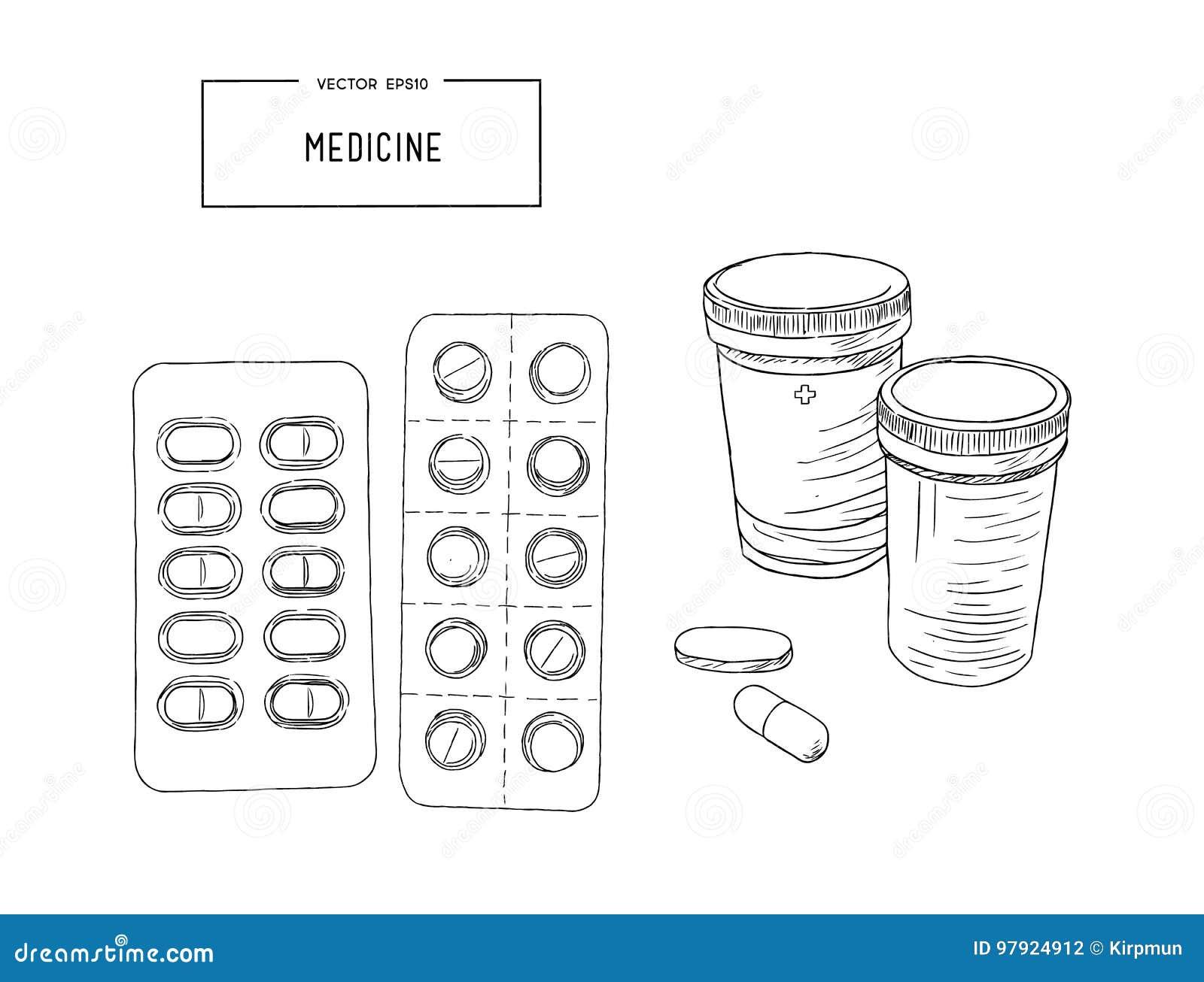 Läkarundersökningflaskor med preventivpillerar, kapslar skissar vektorn
