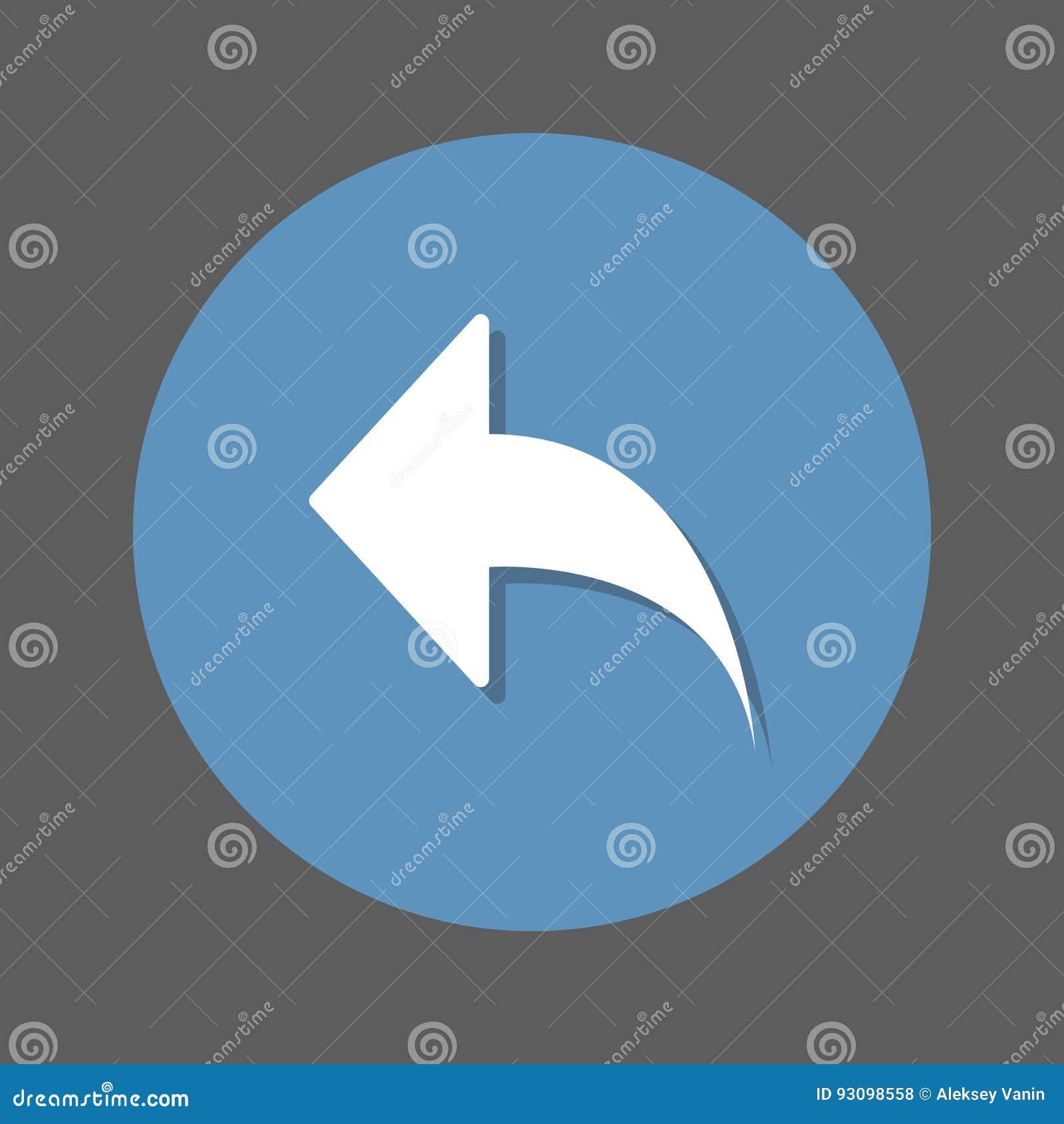 Lämnad pil, plan symbol för svar Rund färgrik knapp, runt vektortecken med skuggaeffekt Plan stildesign