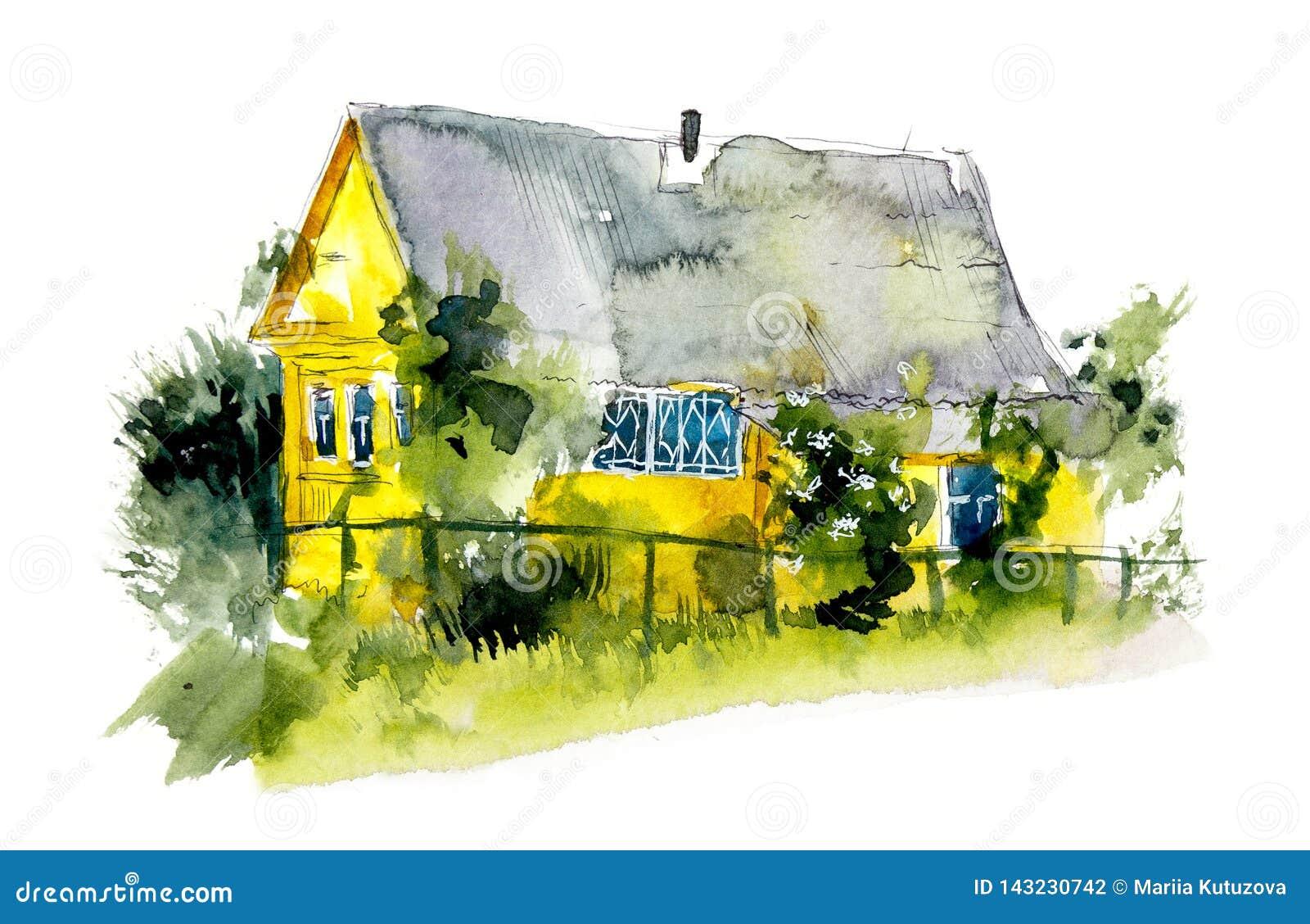 Ländliche Häuser dorf Gezeichnete Illustrationen des Aquarells Hand