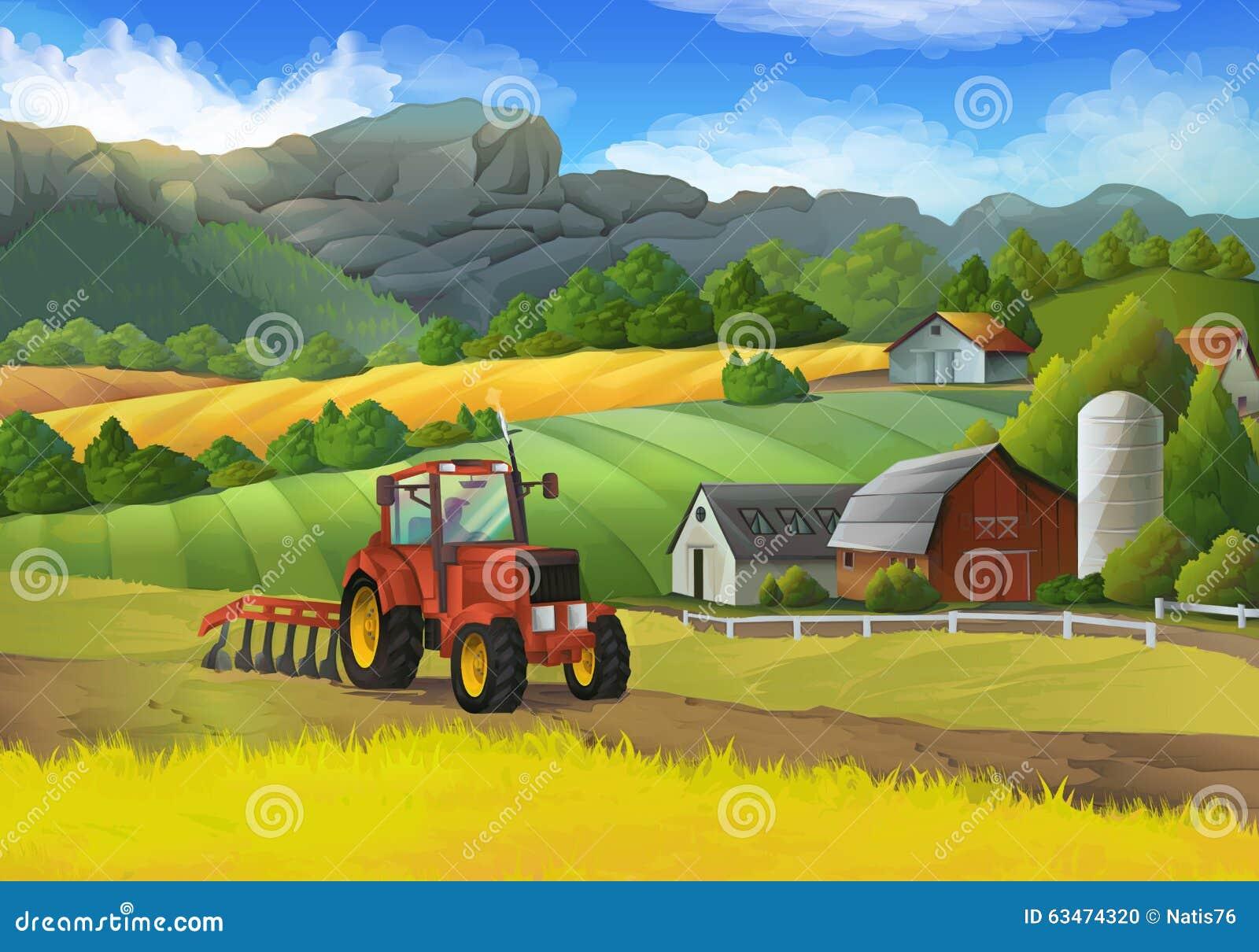 Ländliche Landschaft des Bauernhofes