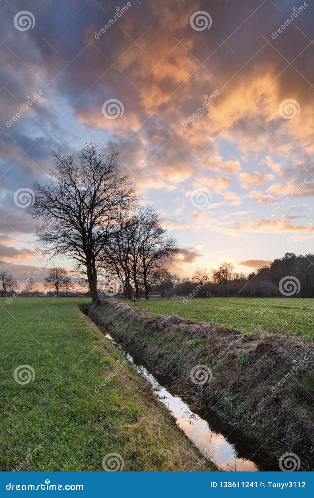 Ländliche Landschaft, Feld mit Bäumen nahe einem Abzugsgraben und bunter Sonnenuntergang mit drastischen Wolken, Weelde, Belgien