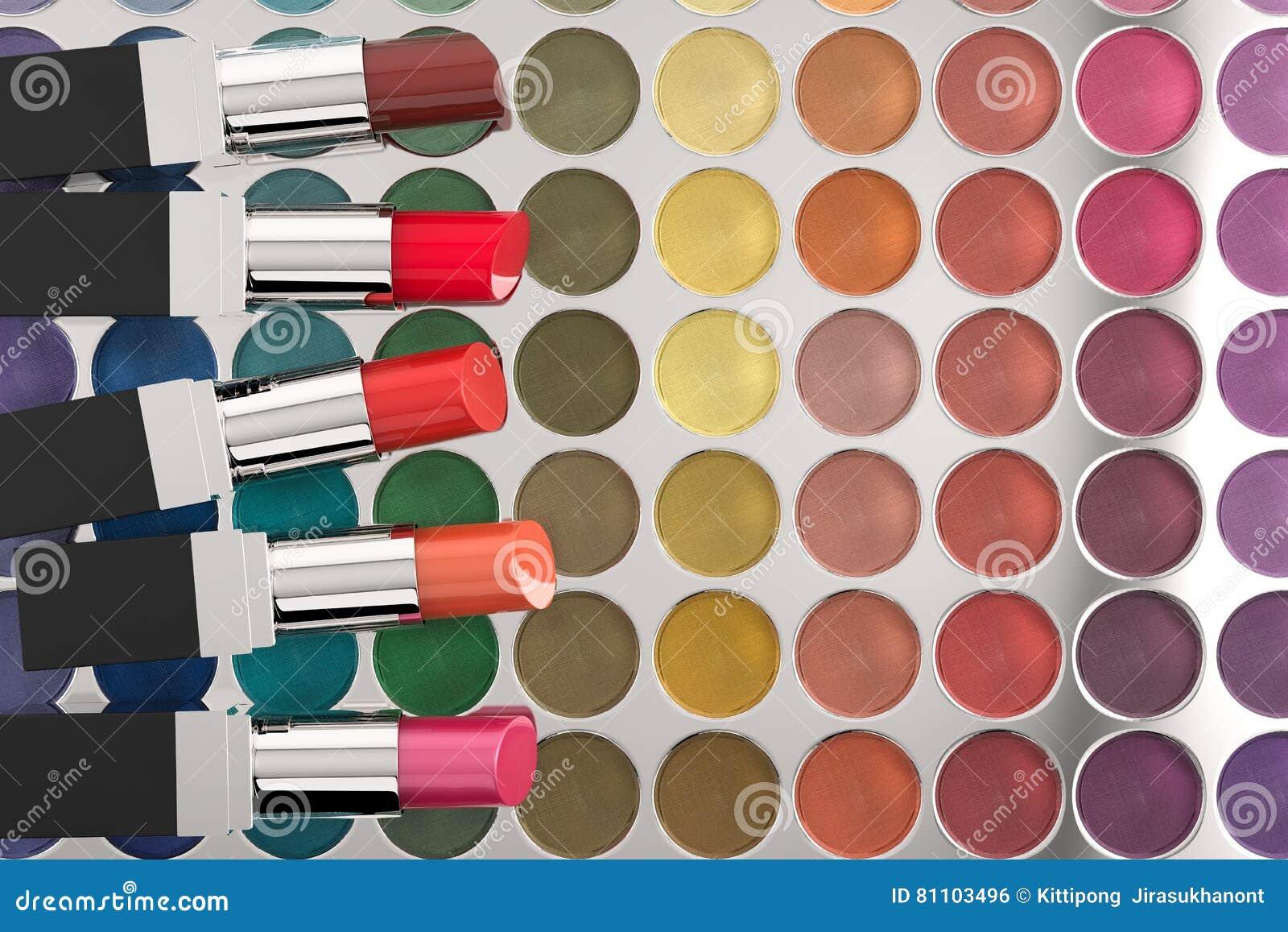Läppstift på paletten för ögonskugga