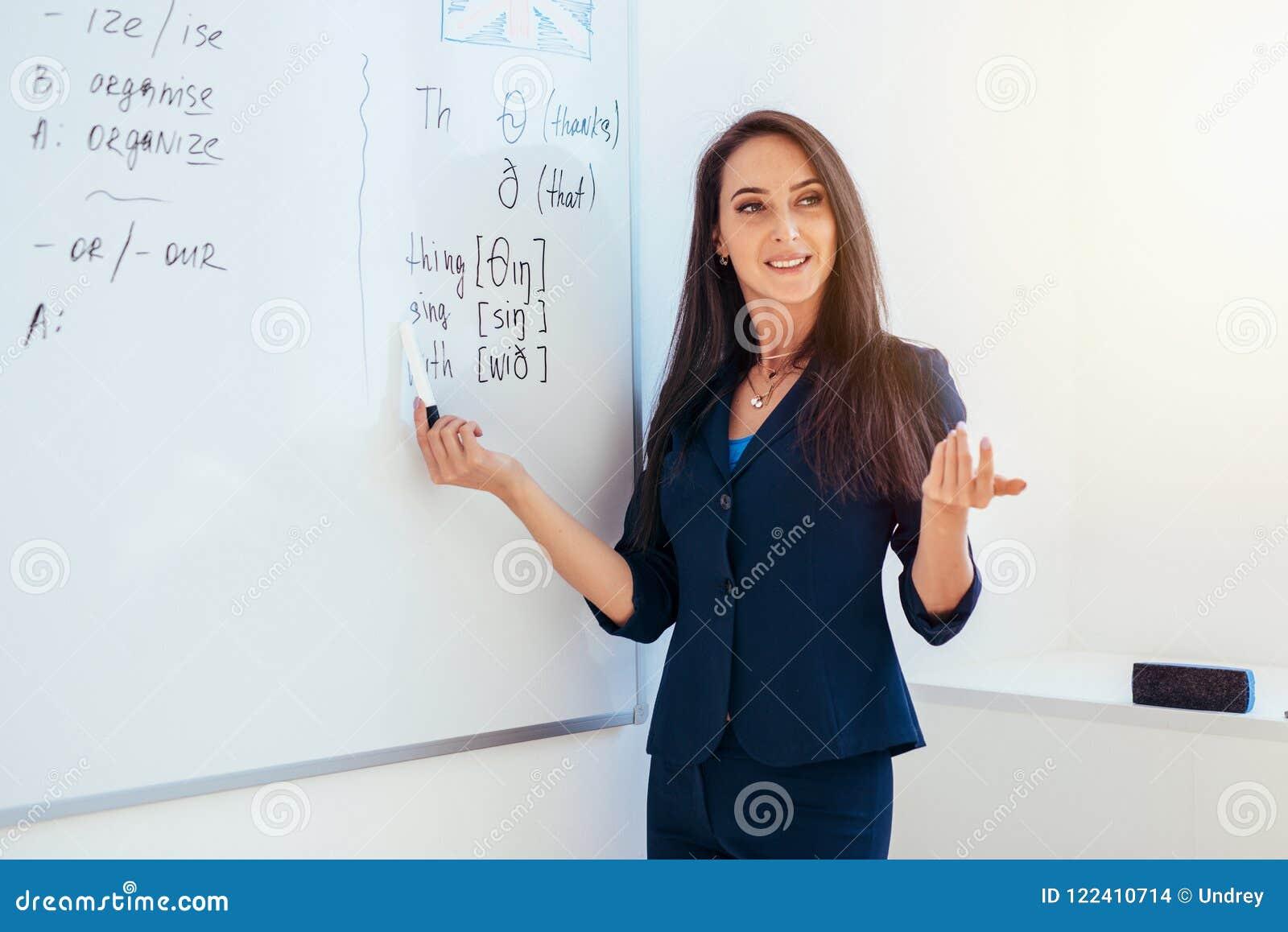 Lär det engelska språket Läraren nära whiteboard förklarar reglerna