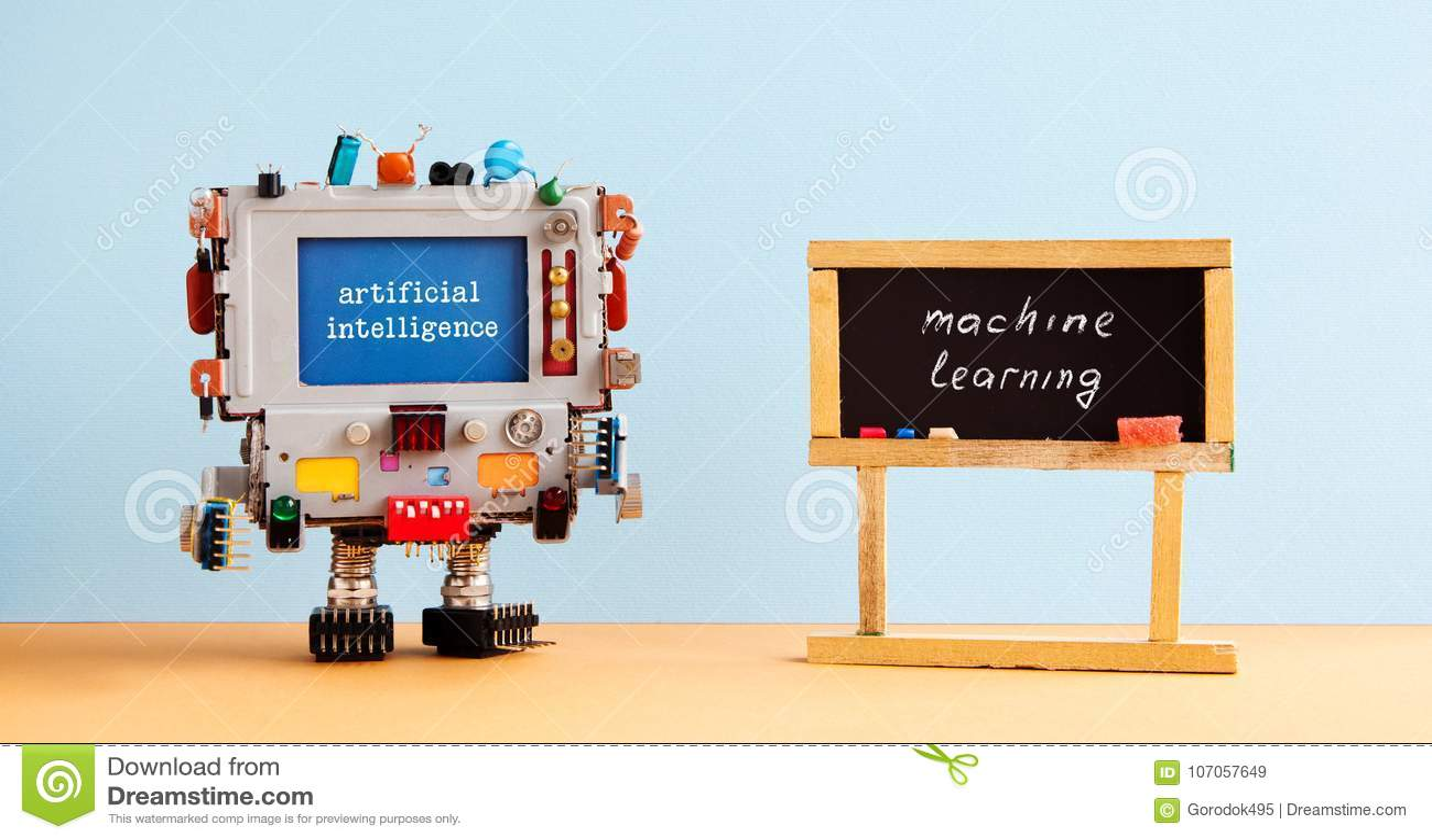 Lära för maskin för konstgjord intelligens Inre för klassrum för svart tavla för robotdatorsvart, framtida teknologibegrepp