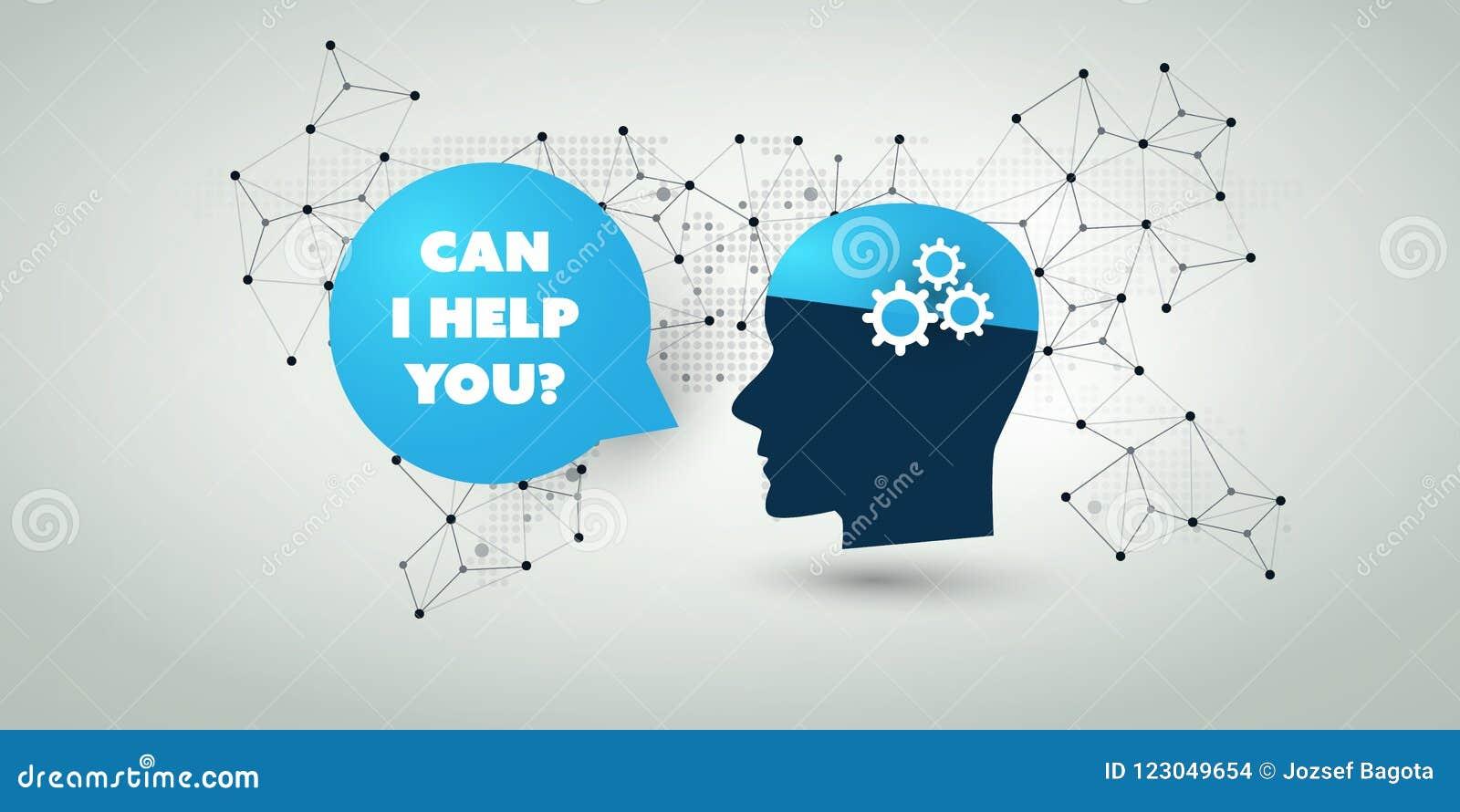 Lära för maskin, konstgjord intelligens, moln som beräknar, automatiserad servicehjälp och nätverksdesignbegrepp
