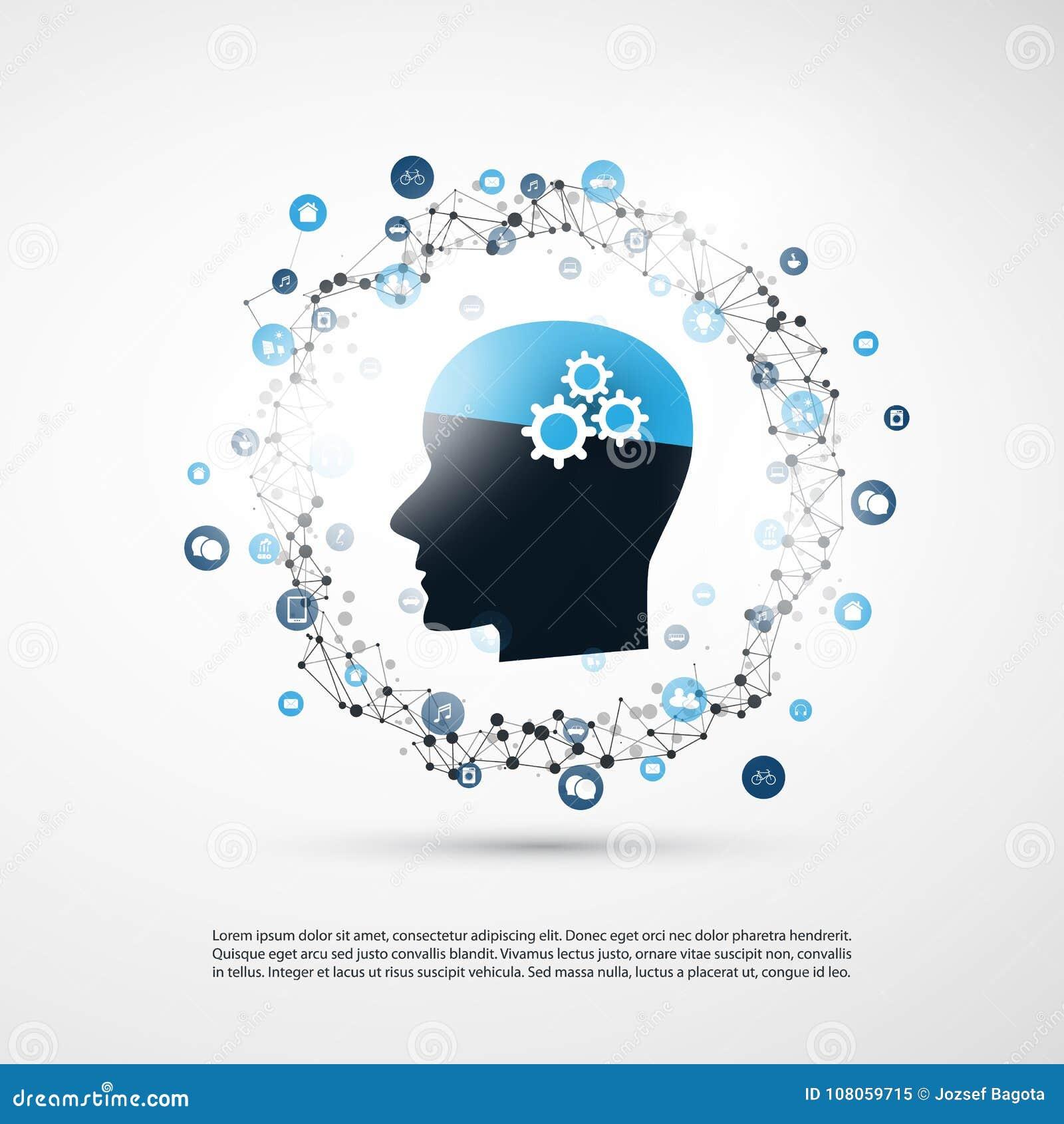 Lära för maskin, konstgjord intelligens och nätverksdesignbegrepp med symboler och det mänskliga huvudet