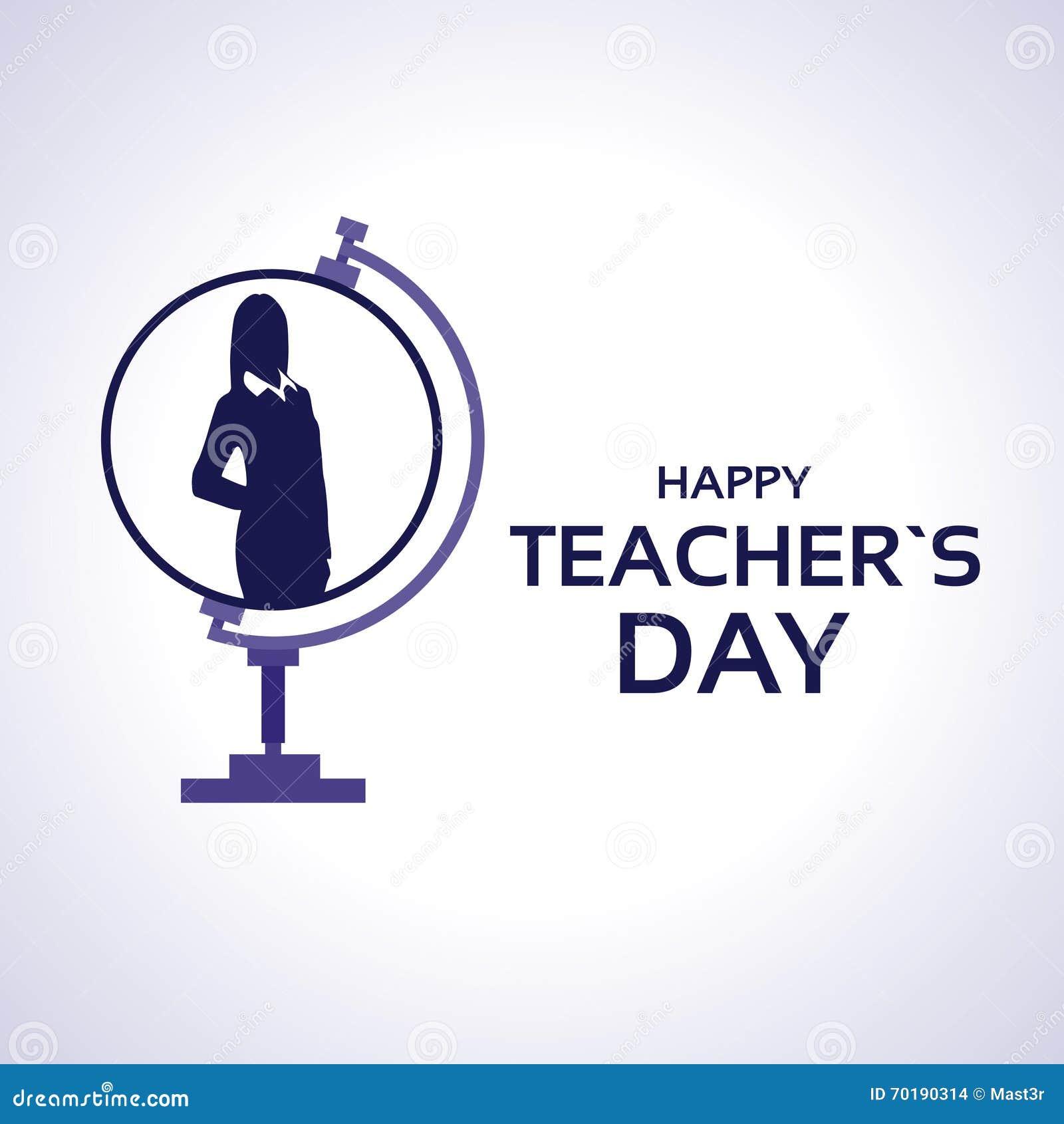 LärareDay Holiday Silhouette kvinna på jordklothälsningkort