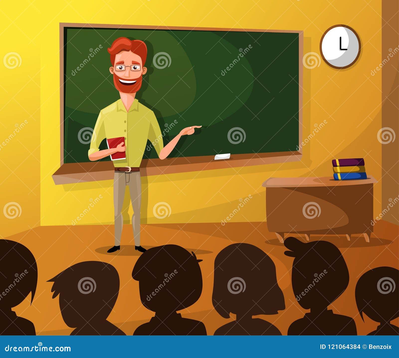 LärareTeaching Students In klassrum, världsbokdag, tillbaka till skolan, brevpapper, bok, barn, grupp med läraren