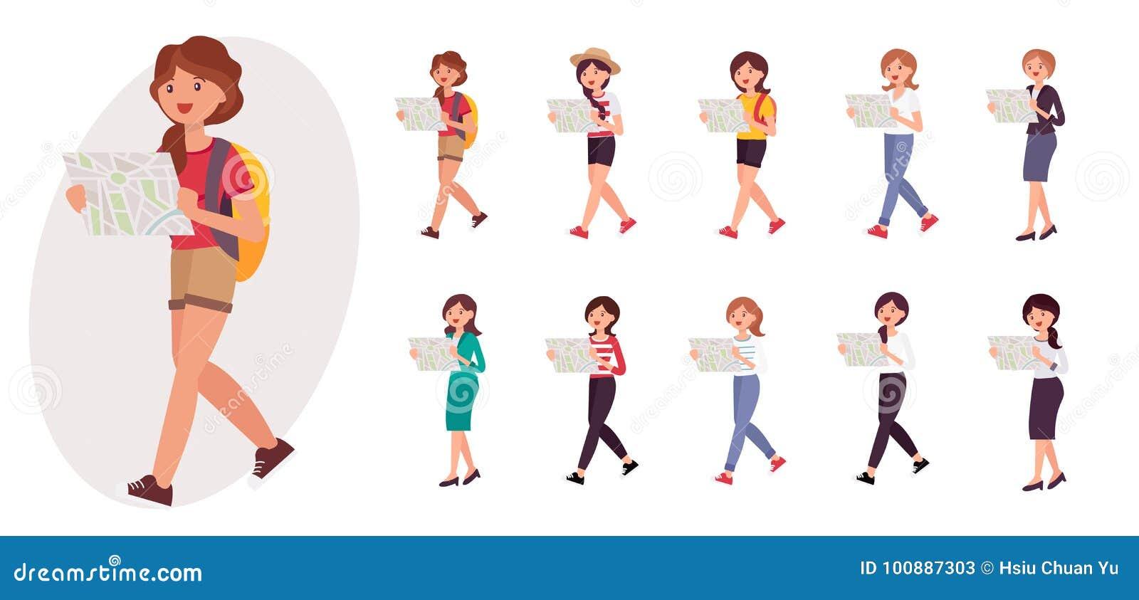 Läsning för fotvandrare för ung flicka för tecknad filmteckendesign kvinnlig