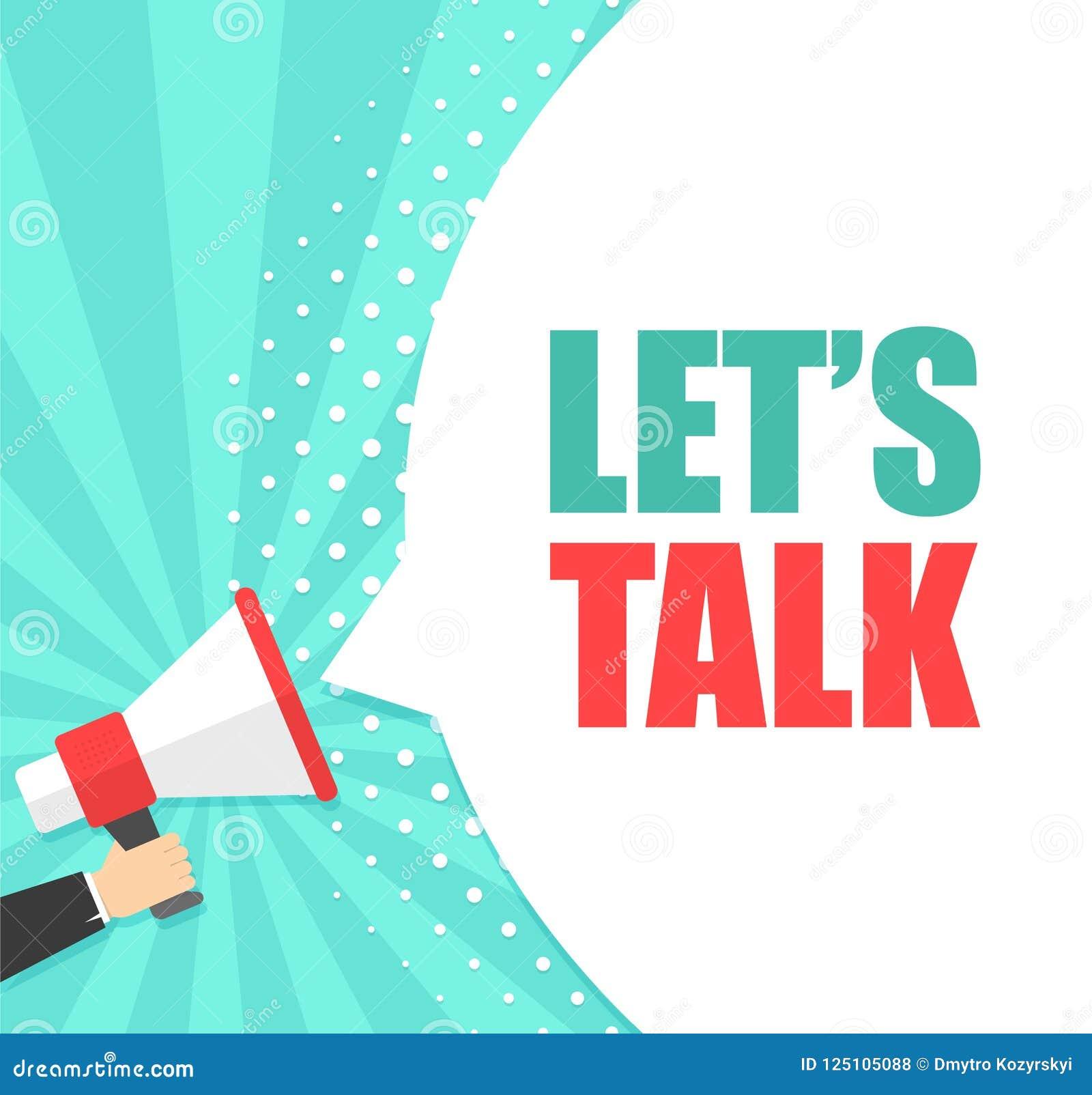 Lät den hållande megafonen för den manliga handen med för samtalanförande för ` s bubblan högtalare Baner för affär, marknadsföri