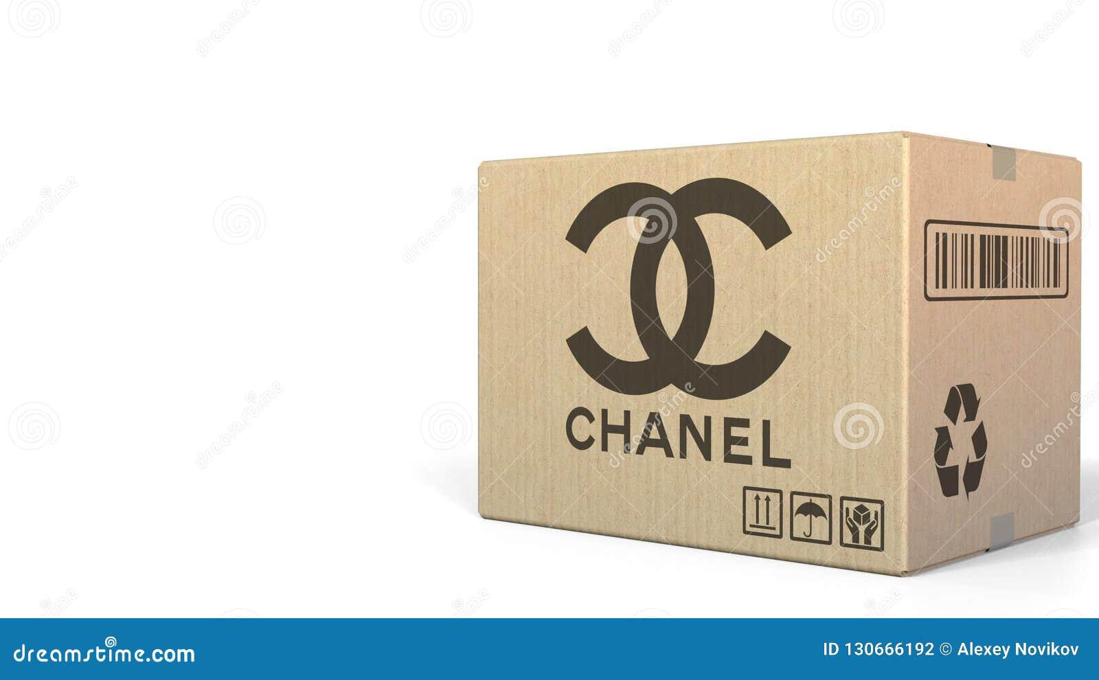 Låda med den Chanel logoen Redaktörs- tolkning 3D