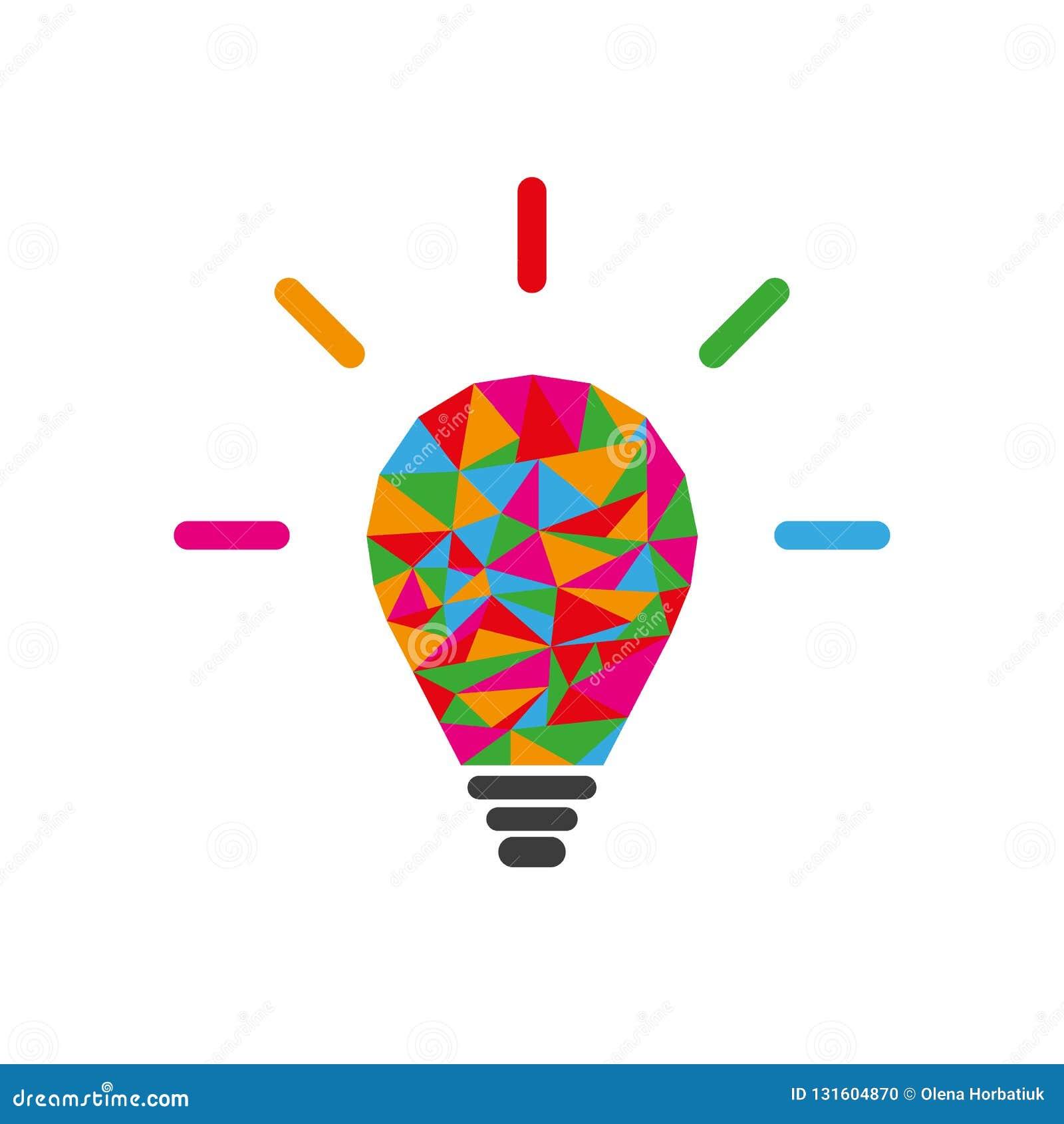 Låg poly lightbulb som idérikt idébegrepp