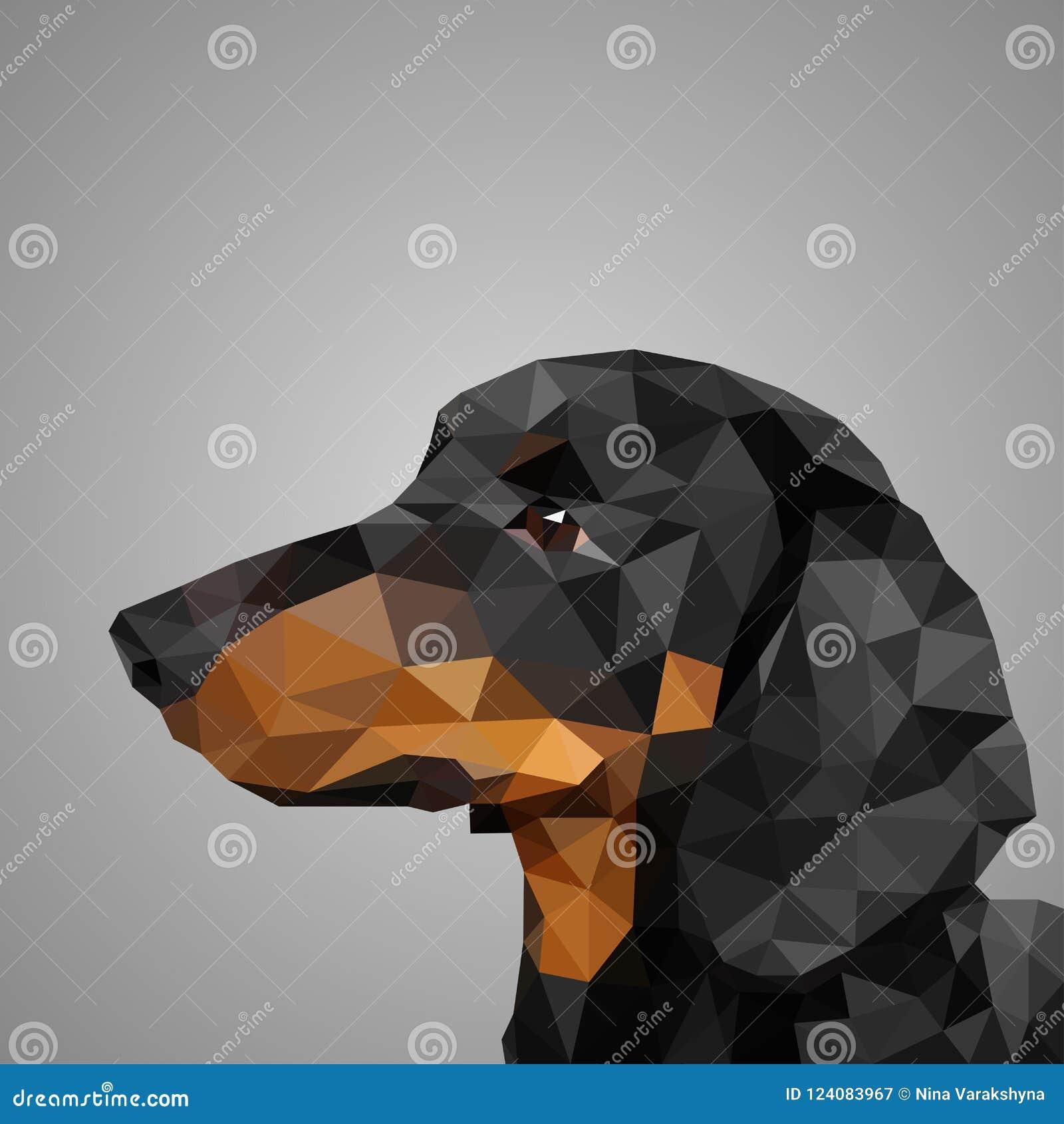 Låg poly vektorhundtax