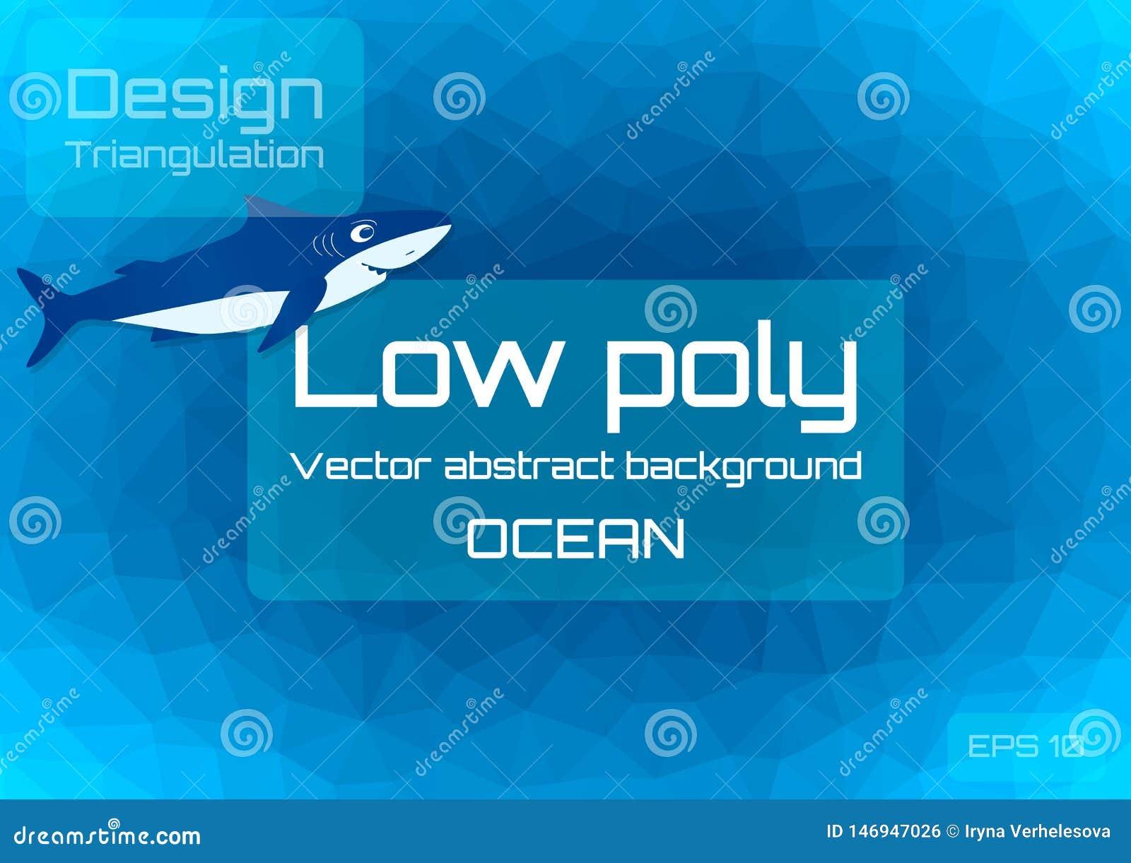 Lågt poly mörkt - blå abstrakt bakgrund Geometrisk triangulering av havdjup Texturerad mall