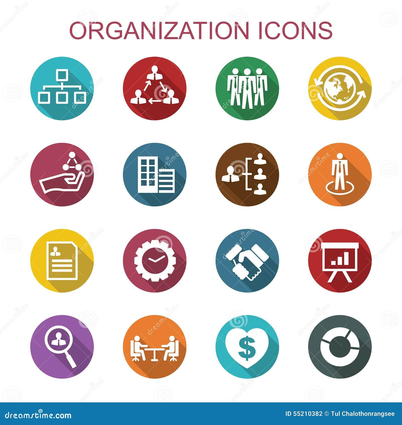 Långa skuggasymboler för organisation