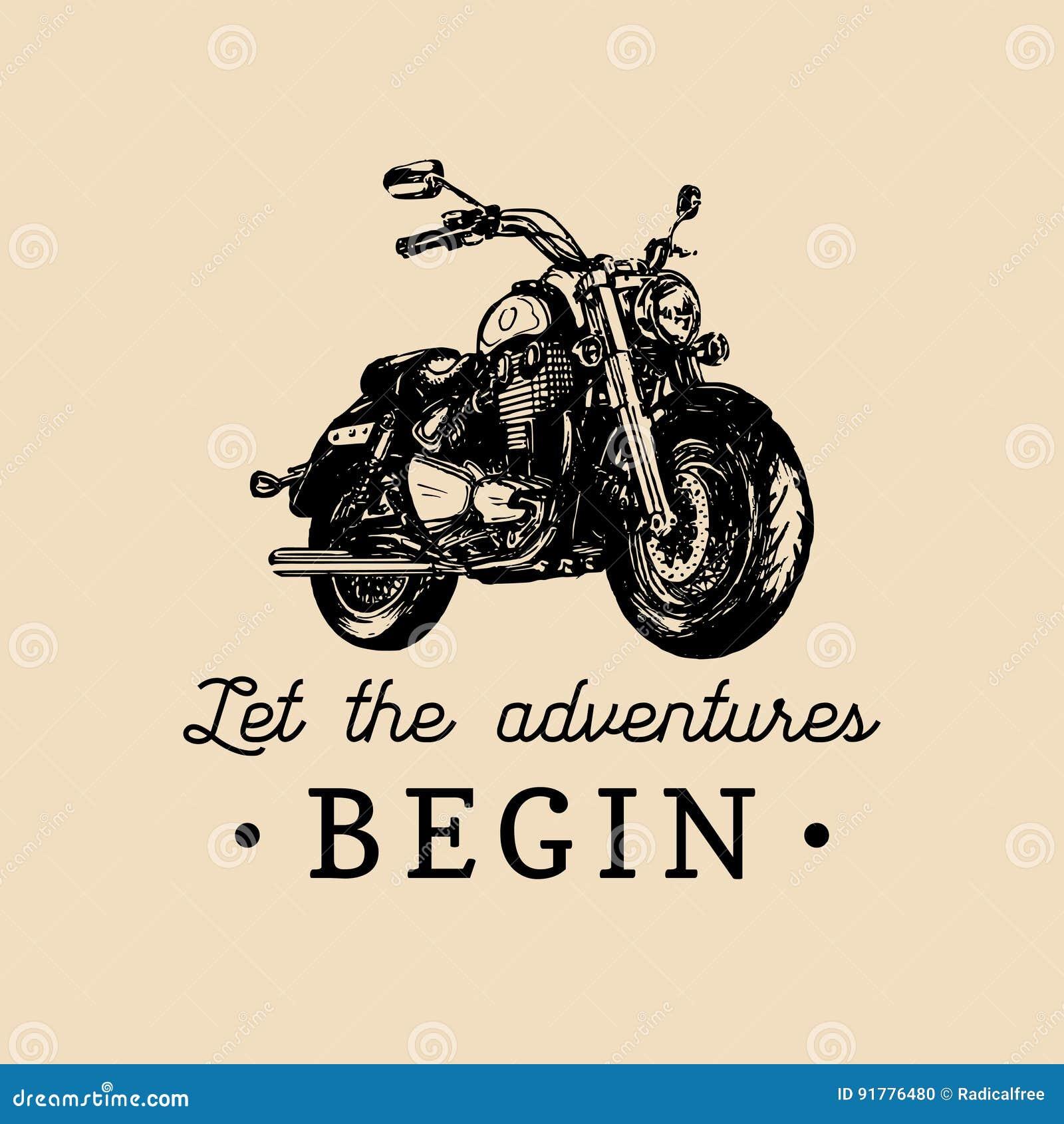 Låt affärsföretagen börja den inspirerande affischen Dragen motorcykel för vektor hand för konferenciéetikett Tappningcykelillust