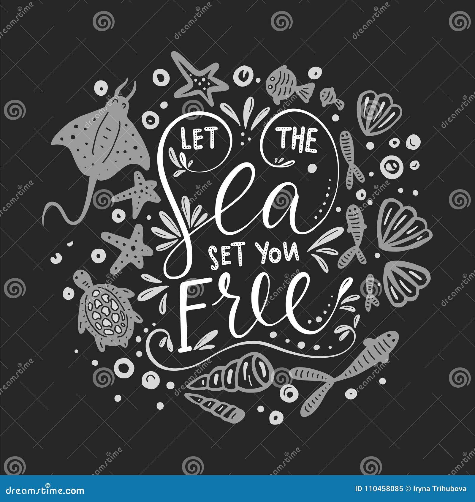 Låt havsuppsättningen dig fritt randig vektor för bakgrundskortprelambulator