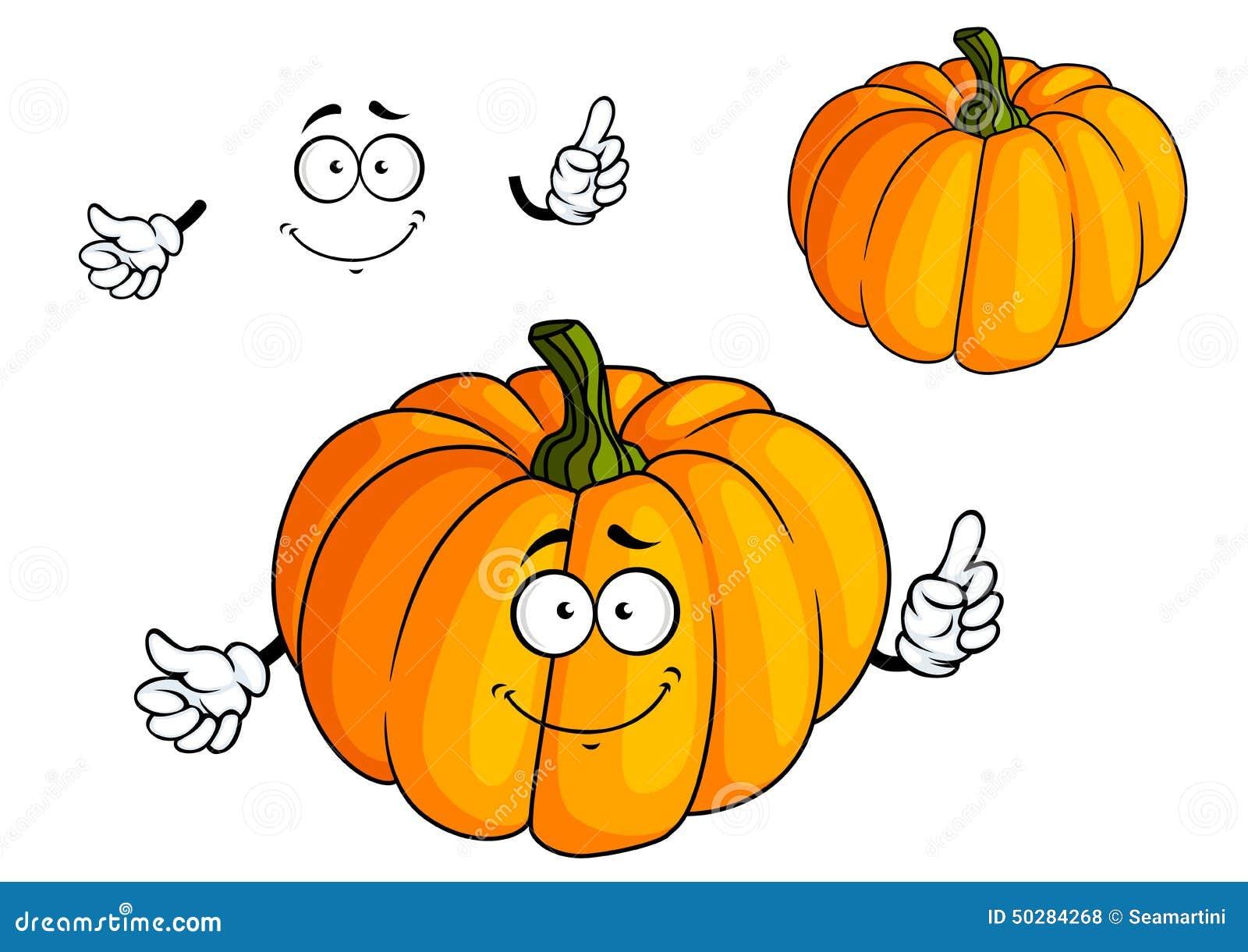 Légume orange lumineux de potiron de bande dessinée