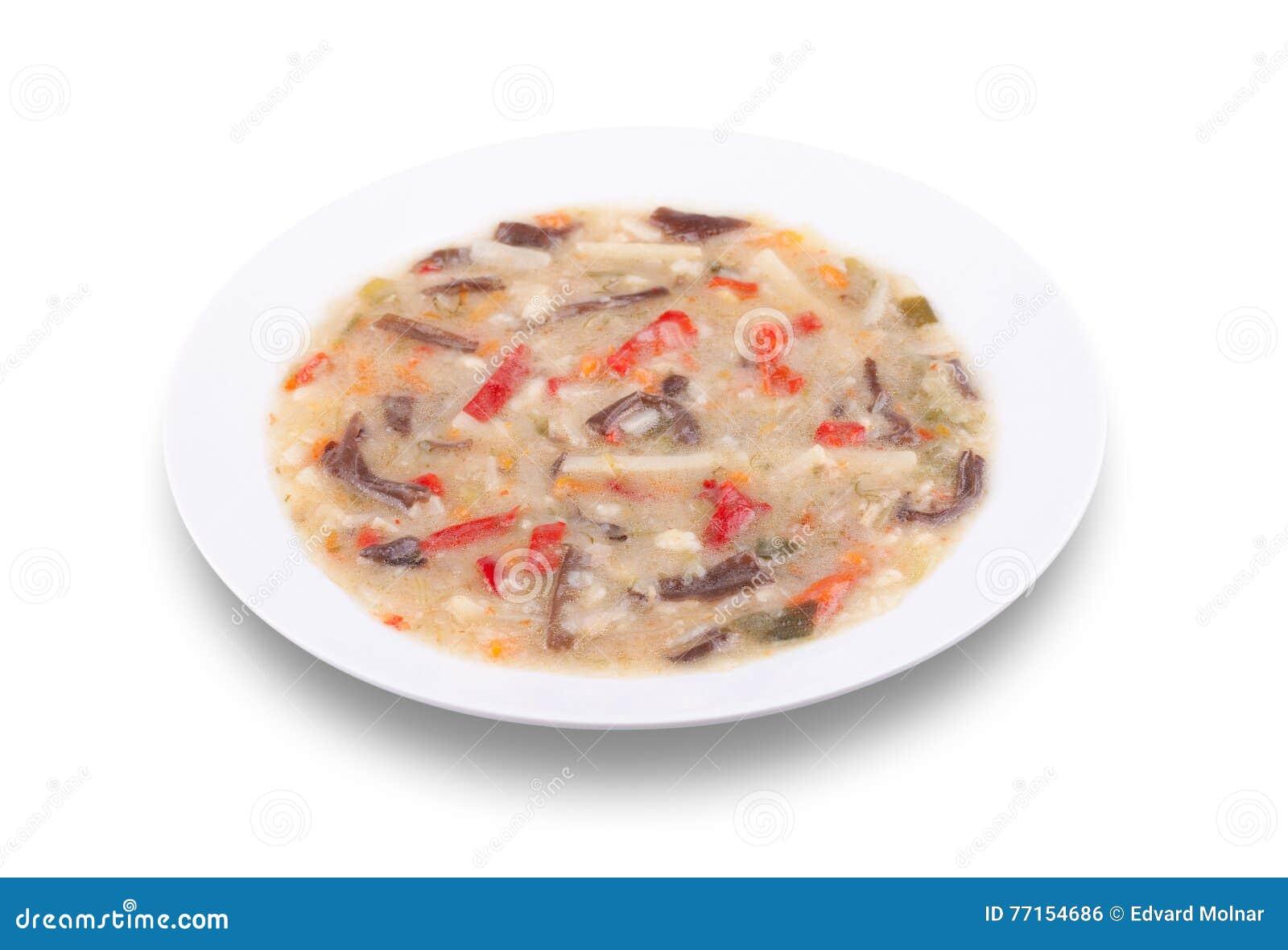 Légumes cuits de mélange de Chinois avec les bandes fongueuses noires de champignons