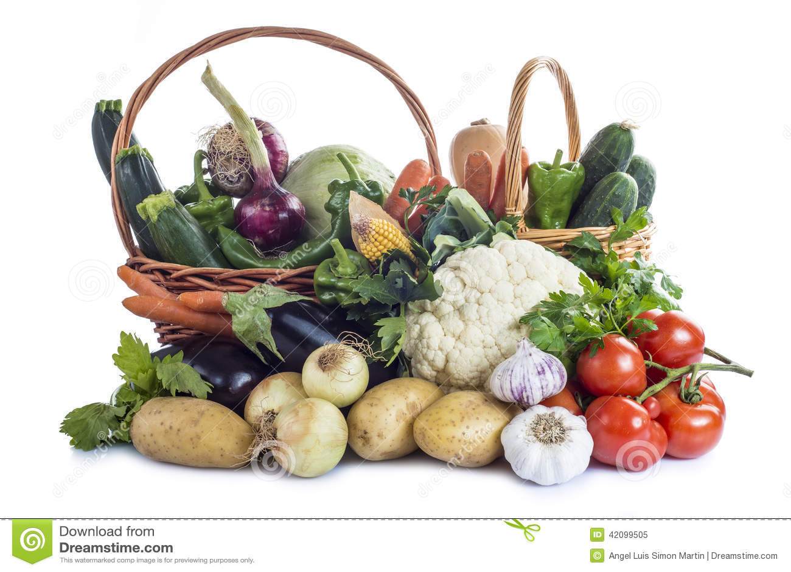 Légumes d isolement sur un fond blanc