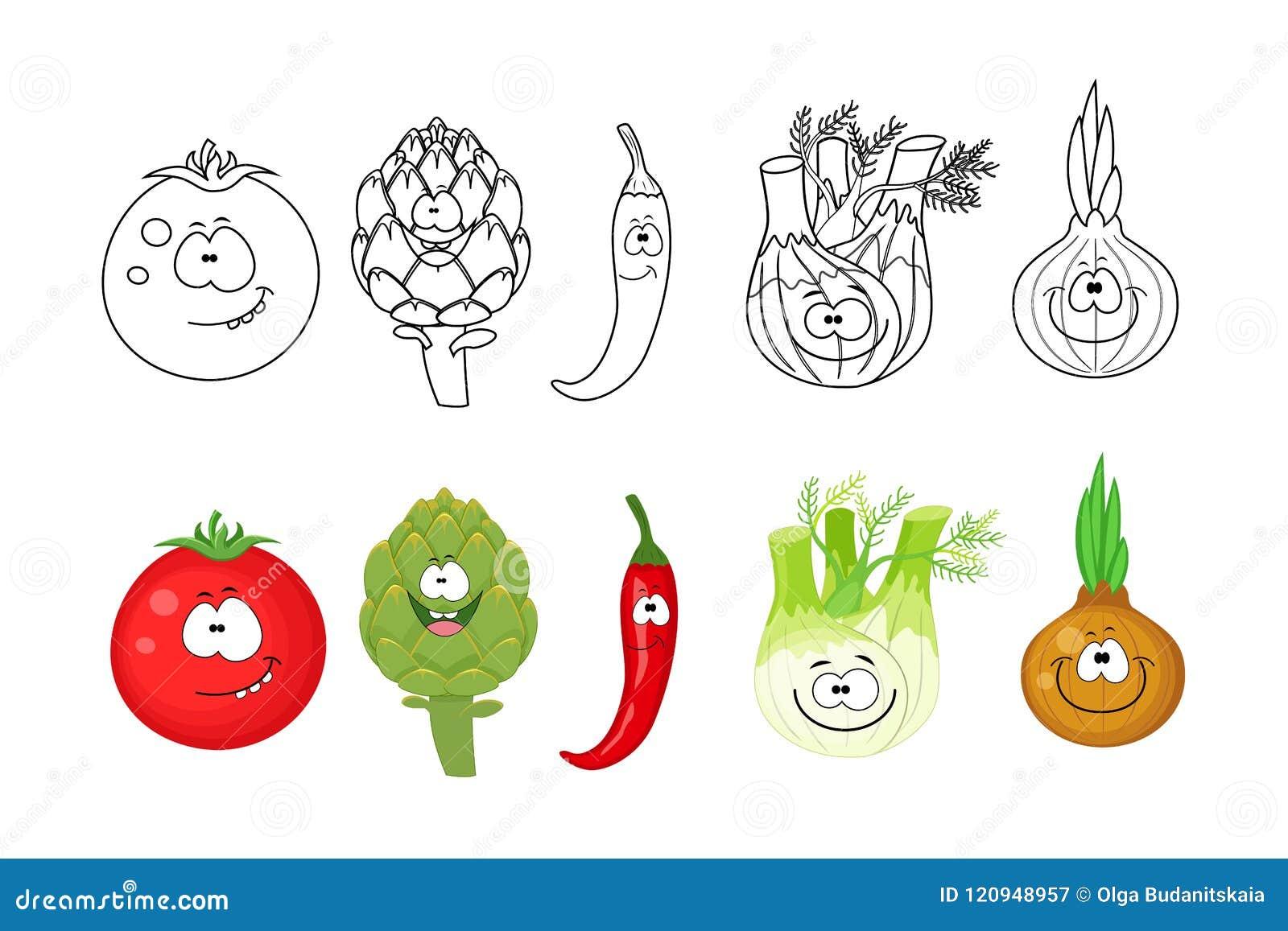 Coloriage Pomme Et Oignon Dessin Anime.Legumes De Bande Dessinee Regles Pages De Livre De Coloriage
