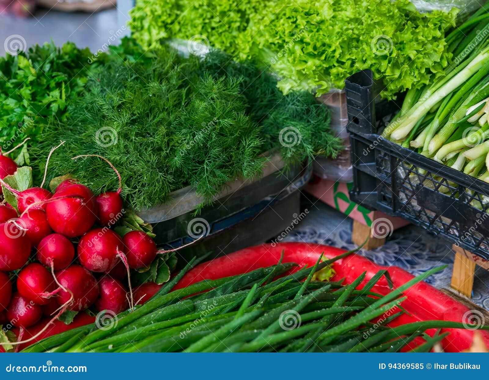 Légumes de ressort - oignon, radis, aneth, salade à vendre
