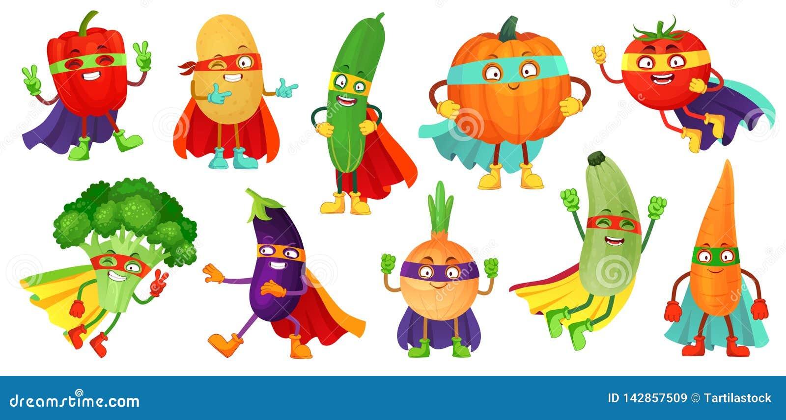 L?gumes de super h?ros Concombre superbe, masque de h?ros sur le potiron et nourriture v?g?tale avec le vecteur de bande dessin?e