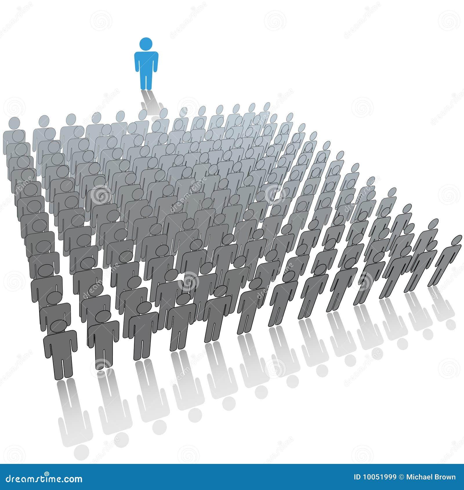 Líder ao grupo de pessoas da grande audiência