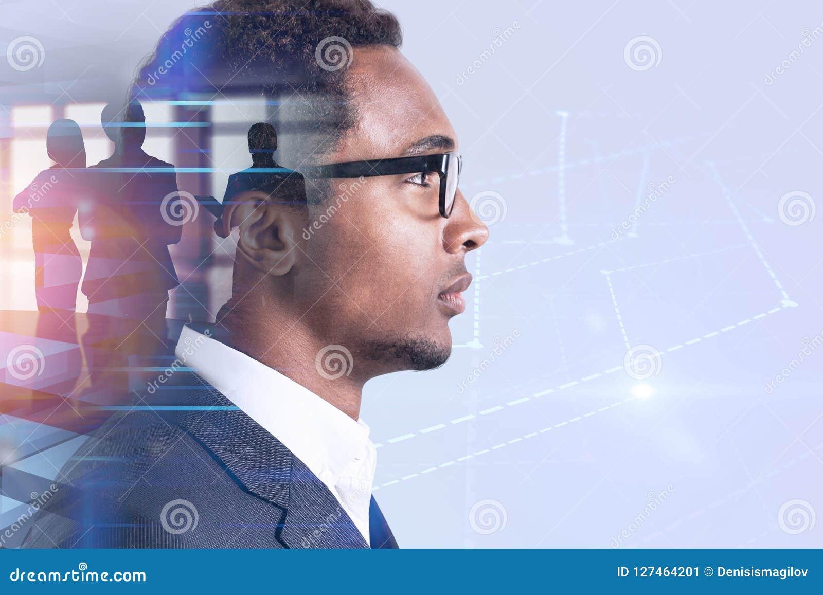 Líder de negócio afro-americano, holograma do gráfico