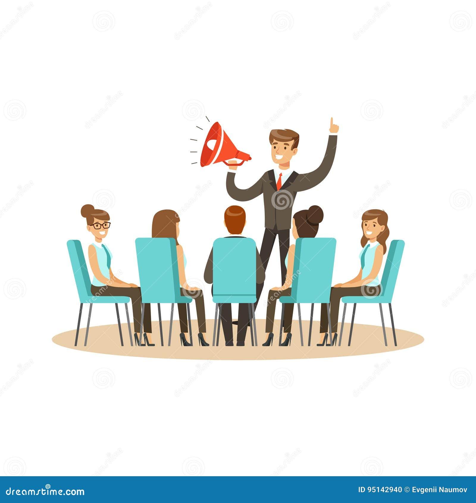 Líder de negócio que usa o altifalante durante a ilustração do vetor da reunião de negócios