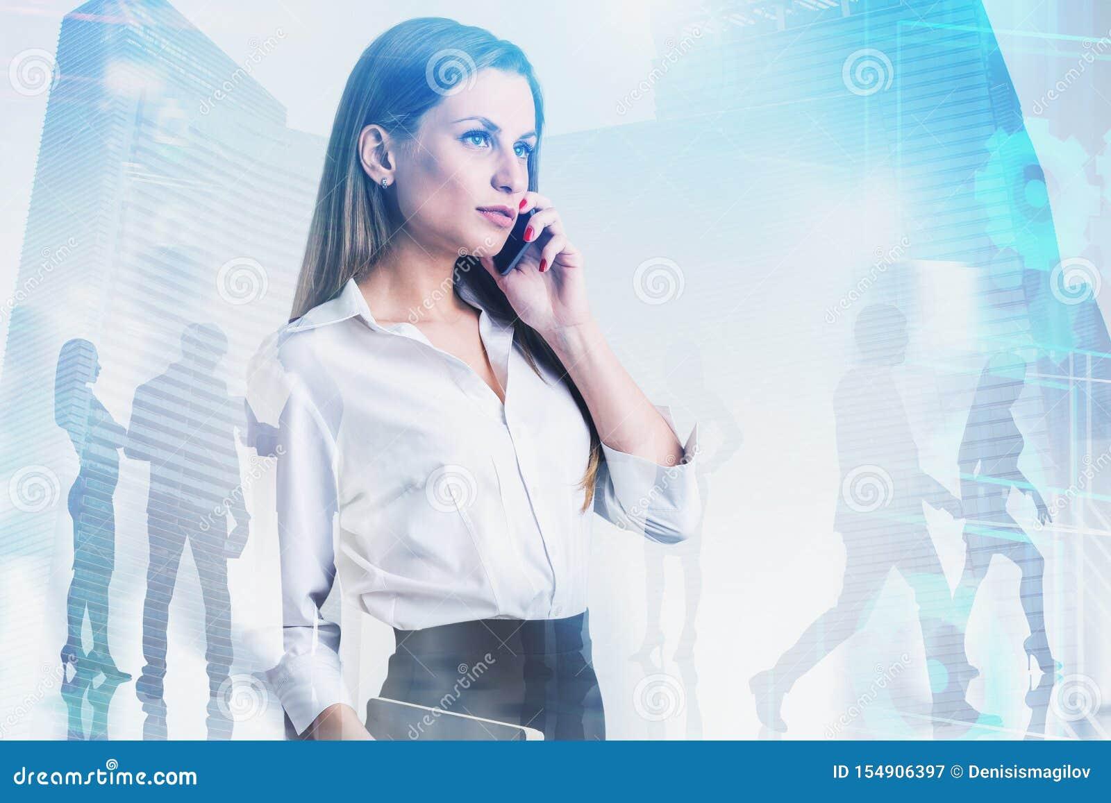 Líder de negócio seguro da mulher, ícones do Internet