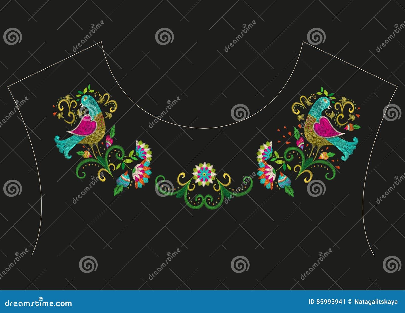 Línea étnica colorida estampado de flores del cuello del bordado